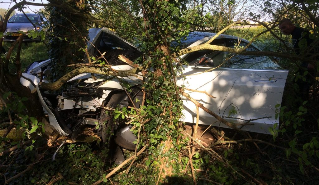 Tesla owner crashes head-on with tree, wishes Autopilot was on