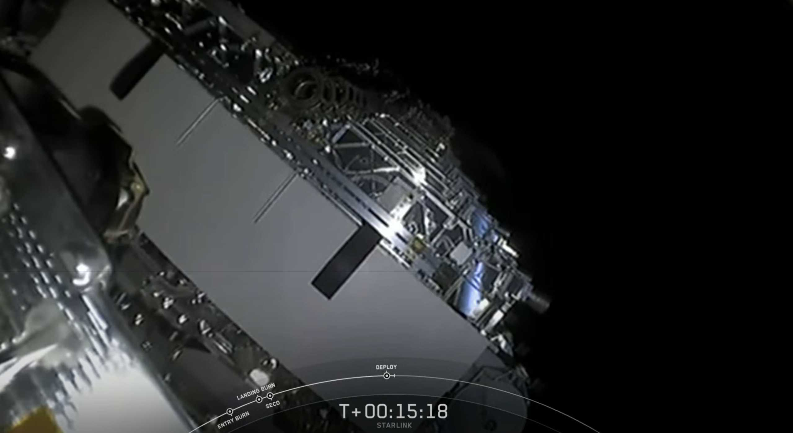 Starlink-8 Falcon 9 B1049 LC-40 060320 webcast (SpaceX) satellite deploy 1 (c)