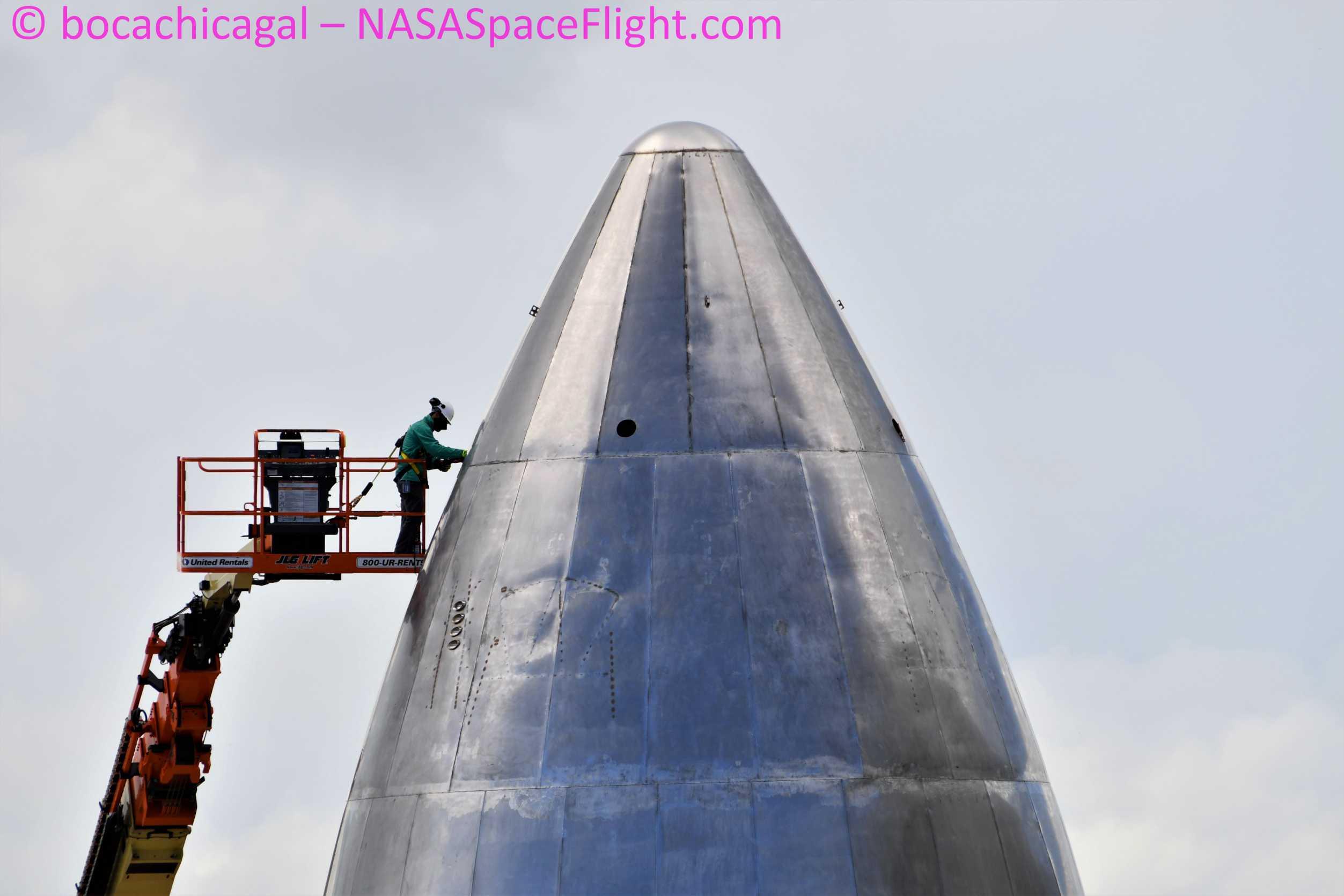 Starship Boca Chica 060120 (NASASpaceflight – bocachicagal) SN5 nose work 1 (c)