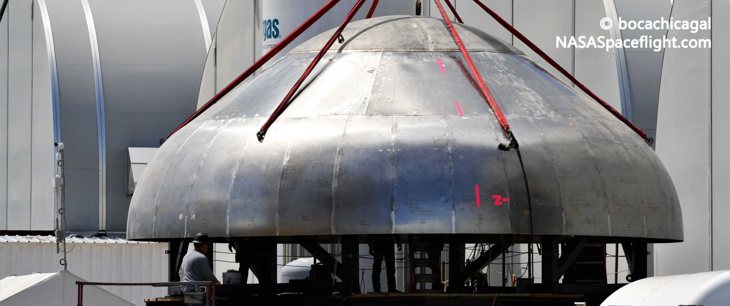 Starship Boca Chica 060120 (NASASpaceflight – bocachicagal) new upper dome 5 crop (c)