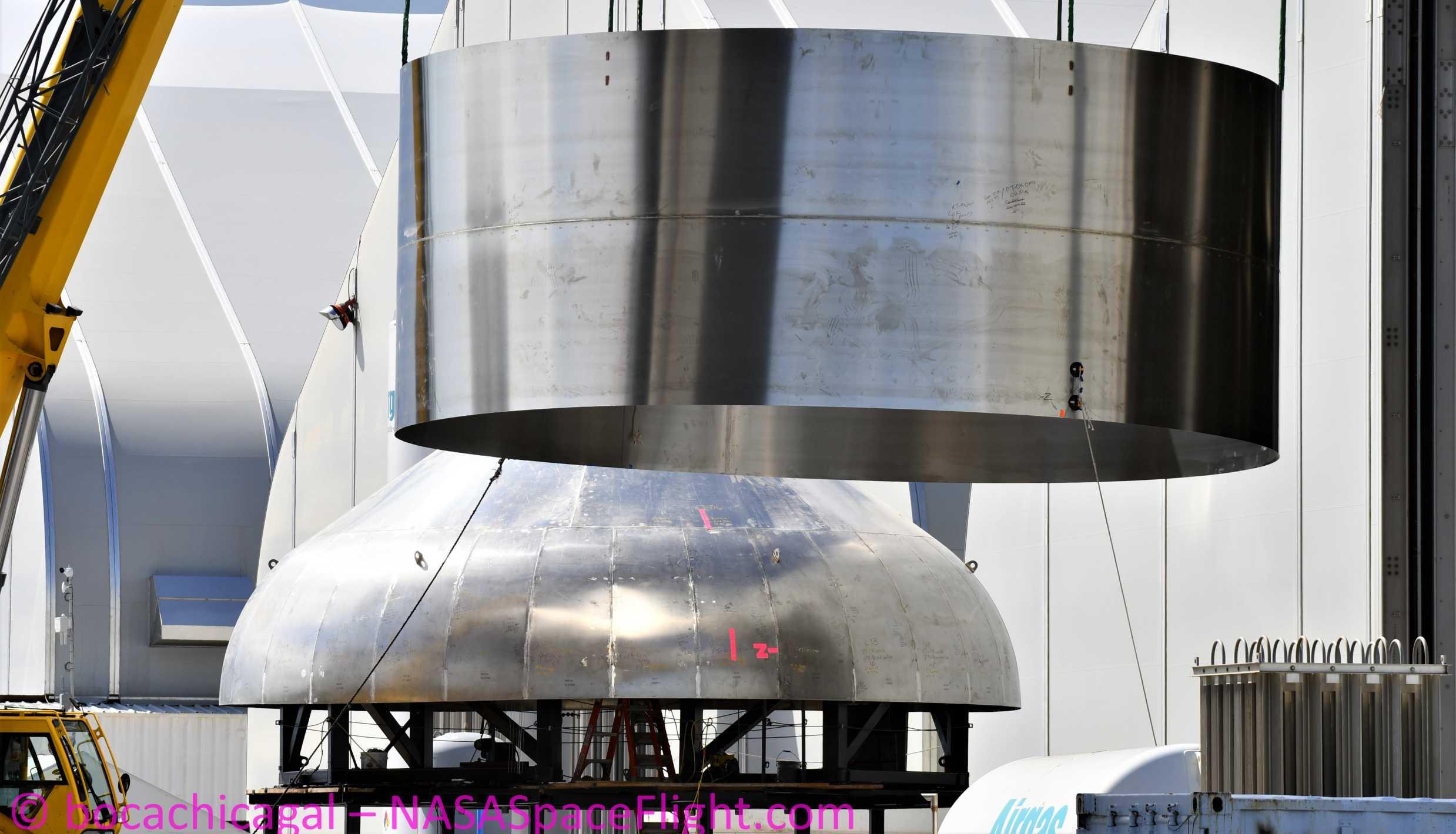 Starship Boca Chica 060120 (NASASpaceflight – bocachicagal) new upper dome sleeve STX198 STX201 2 crop (c)