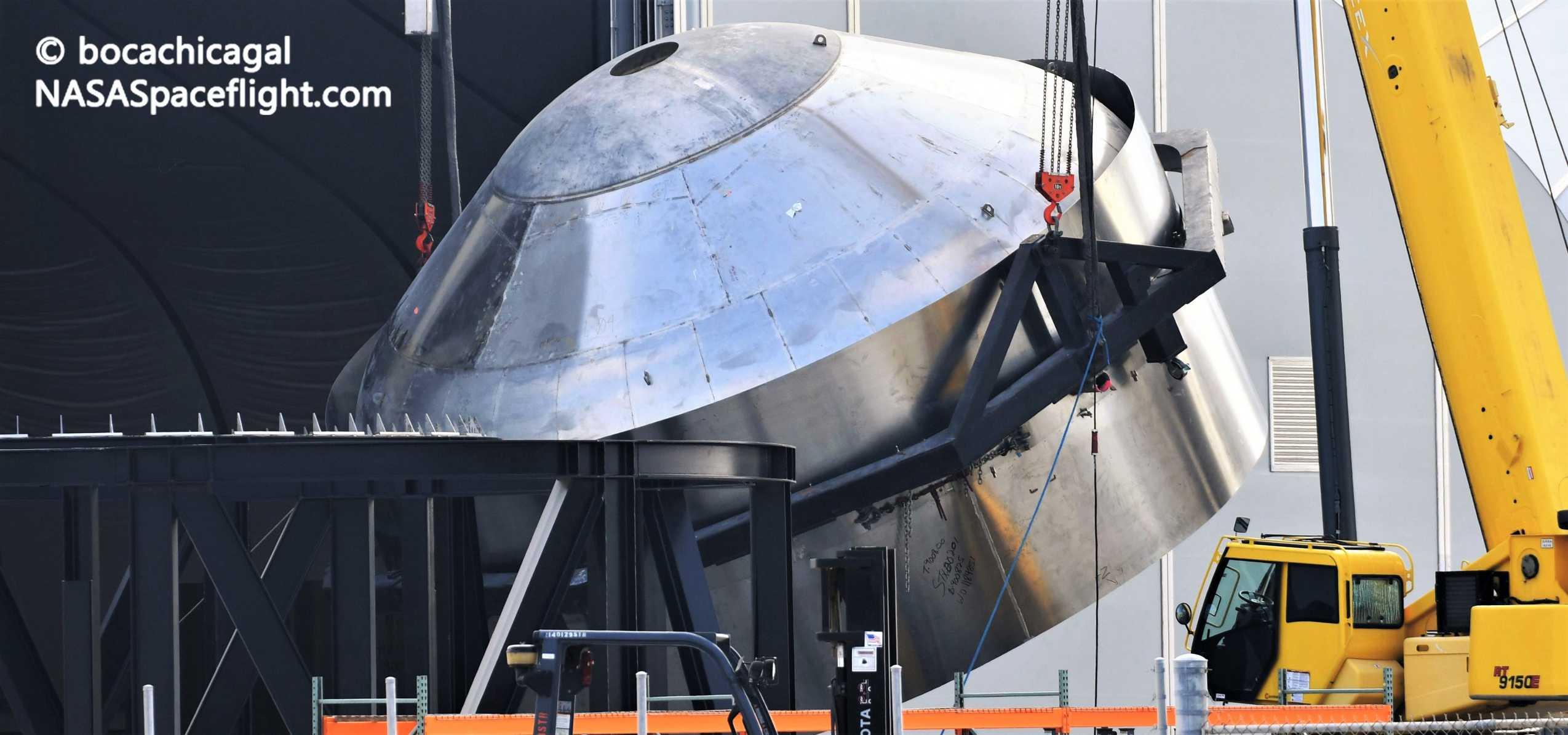 Starship Boca Chica 060920 (NASASpaceflight – bocachicagal) SN7 common dome flip 2 crop (c)
