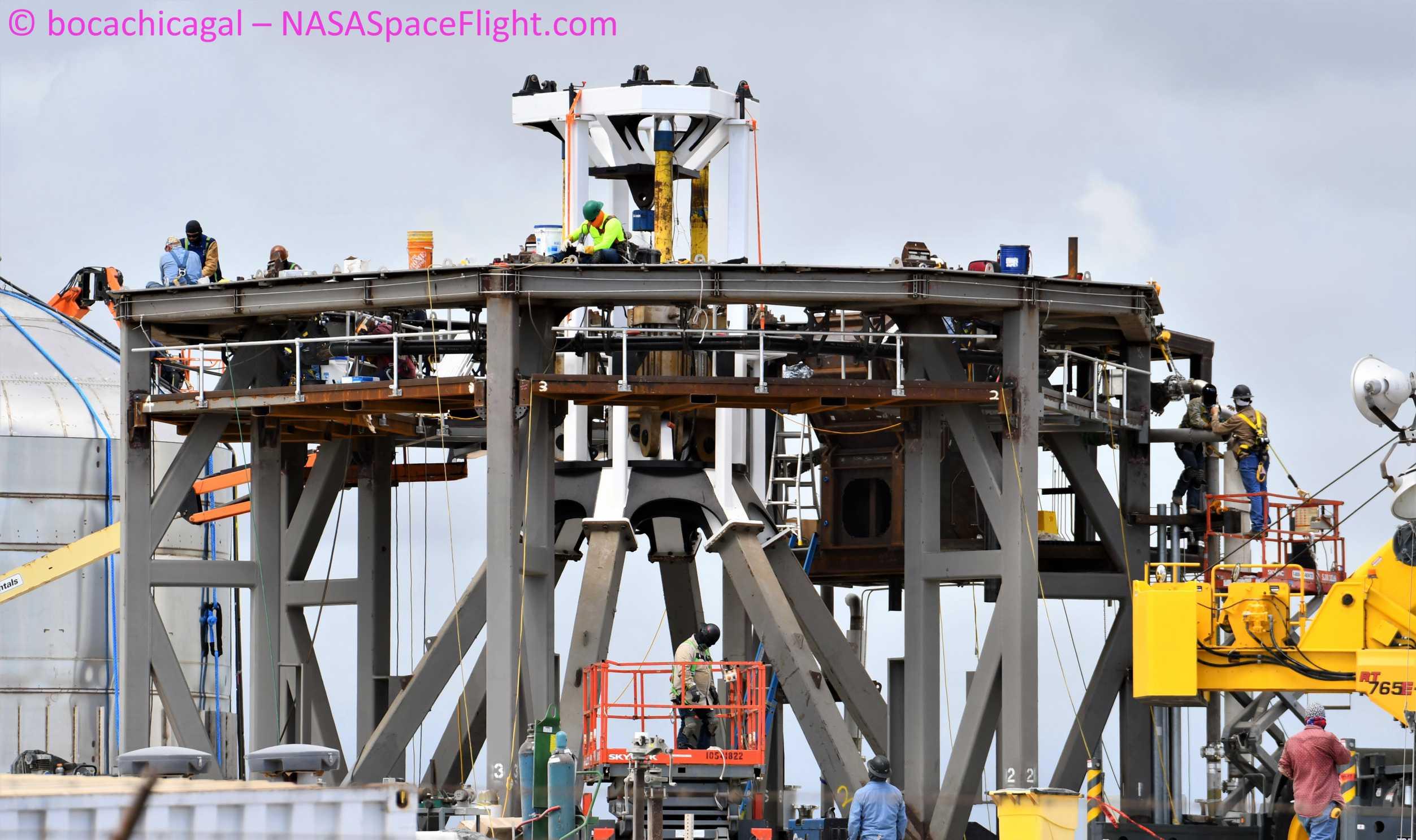 Starship Boca Chica 061920 (NASASpaceflight – bocachicagal) mount work 1 crop (c)