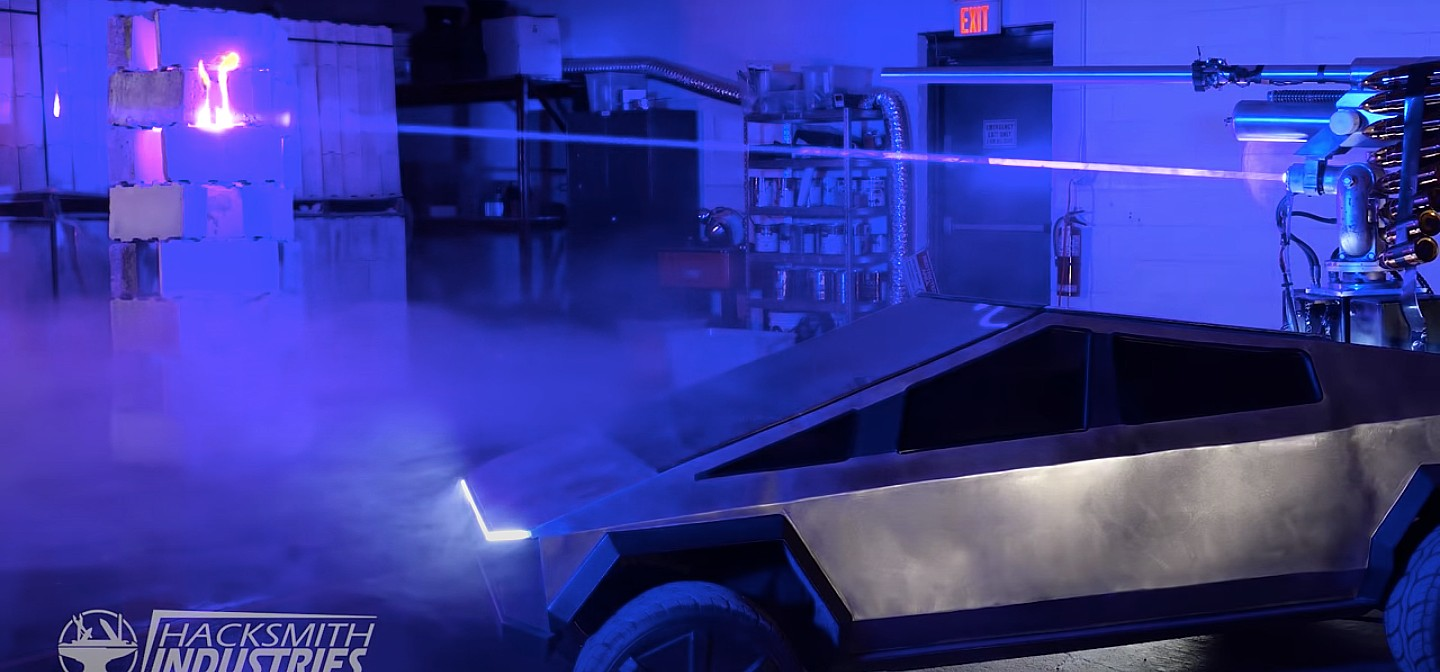 tesla-cybertruck-laser-cannon-hacksmith-modification-military-use