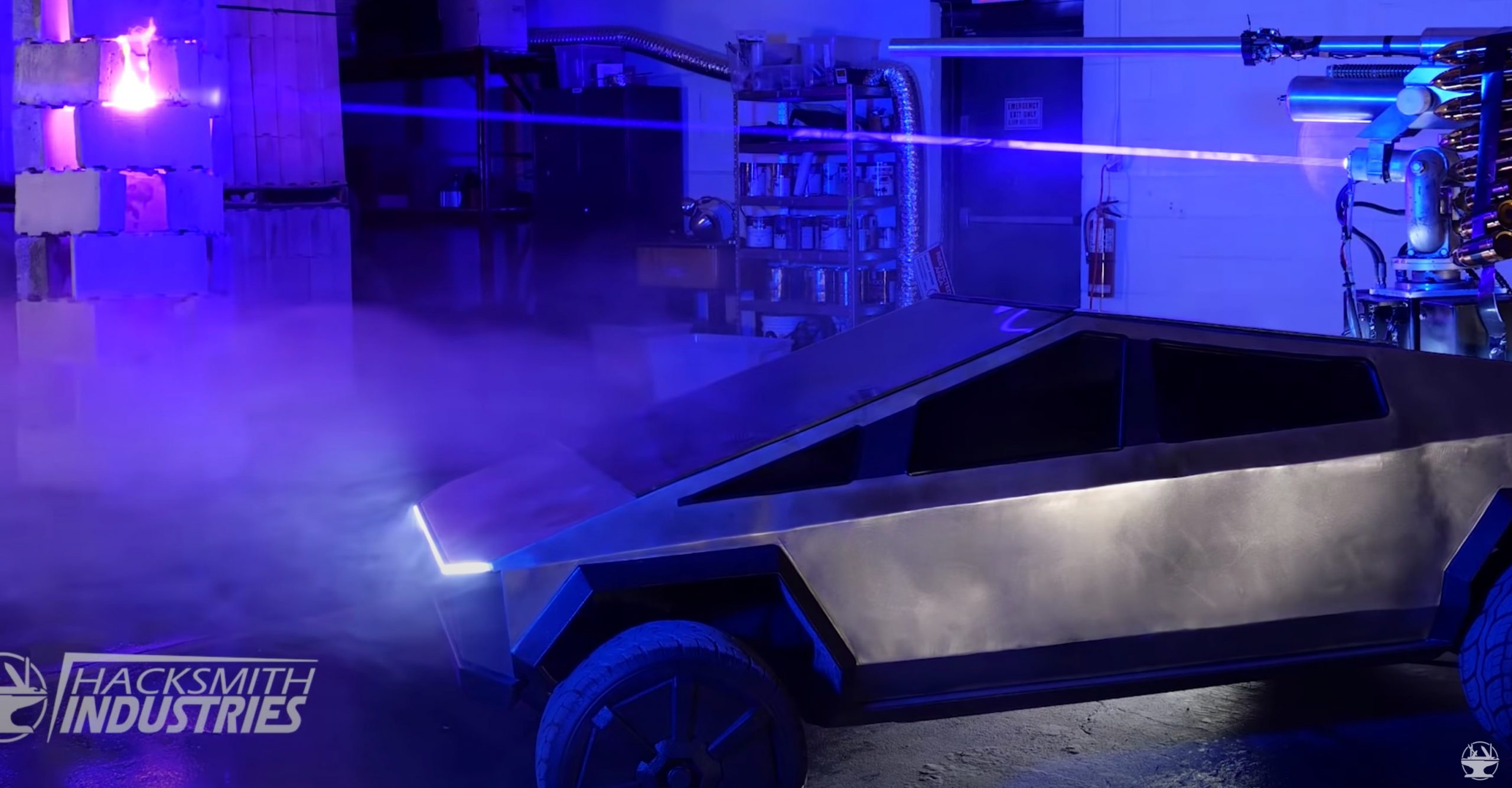 Tesla Cybertruck with Laser Cannon (Credit: Hacksmith via Youtube)