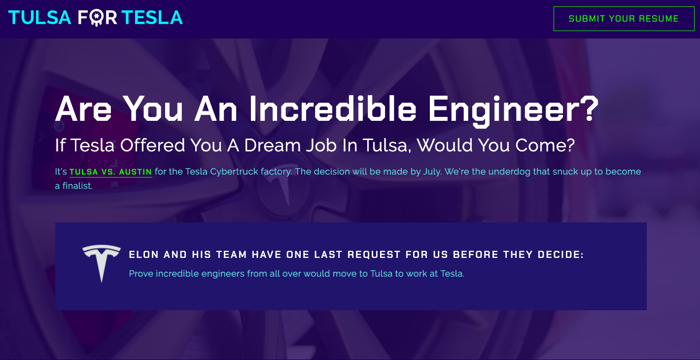 tesla-for-tulsa-website-homepage-cybertruck-gigafactory-engineer-recruiting