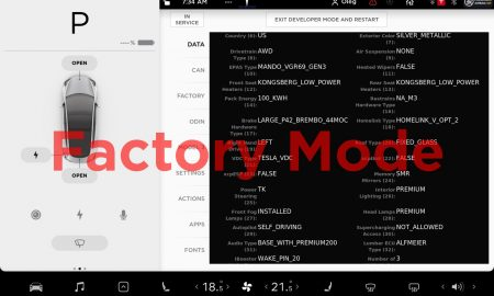 Tesla Model 3 with 100 kWh battery Factory Mode