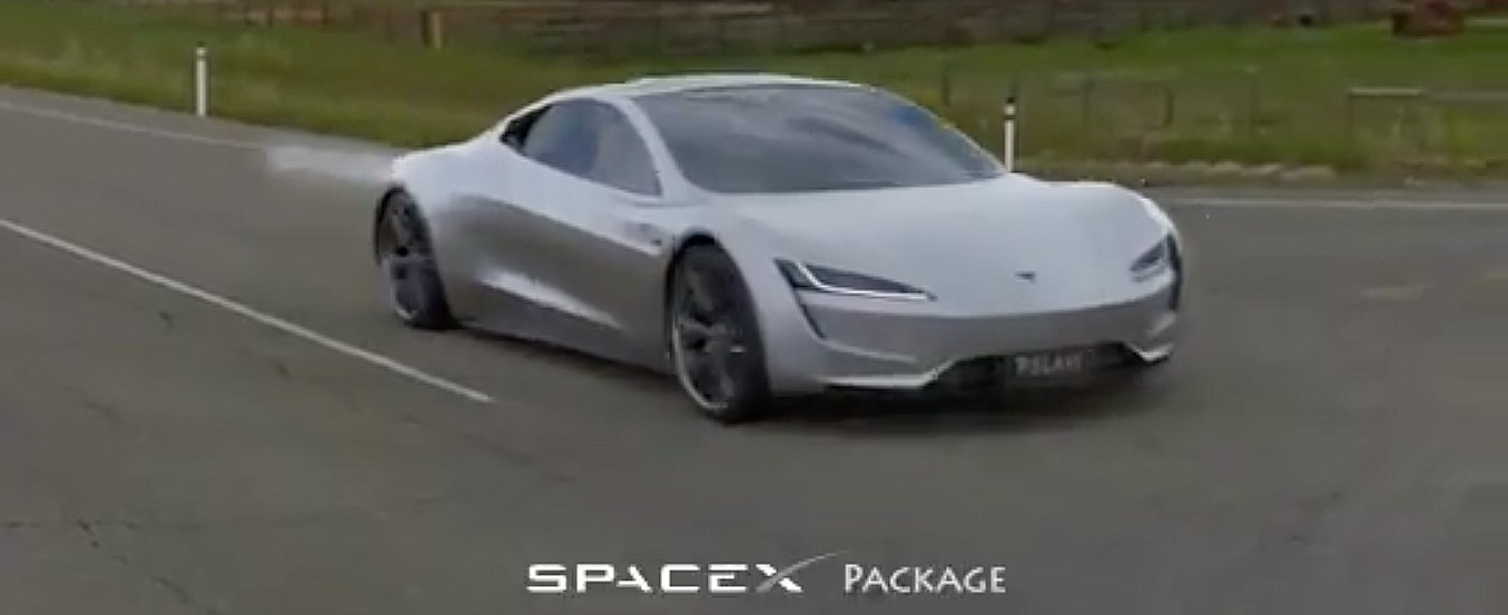 Tesla Roadster SpaceX Package's 1.1-second 0-60 mph launch visualized in concept video