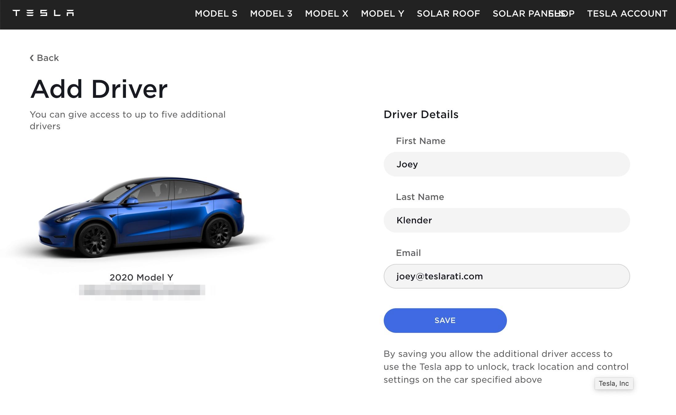 Tesla Robotaxi Car Access Add Driver