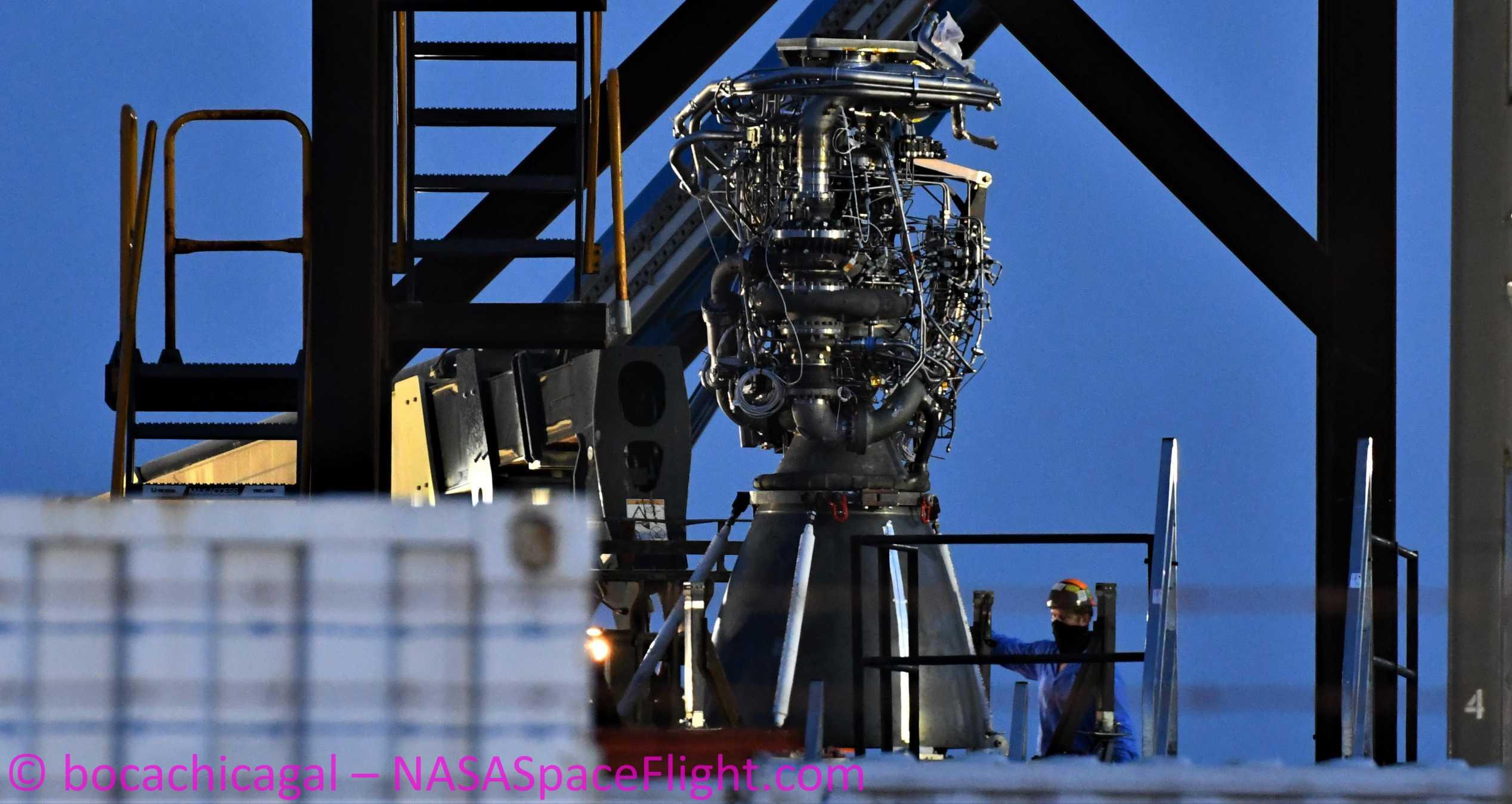 Starship Boca Chica 070320 (NASASpaceflight – bocachicagal) SN5 Raptor SN27 pad arrival 1 crop (c)
