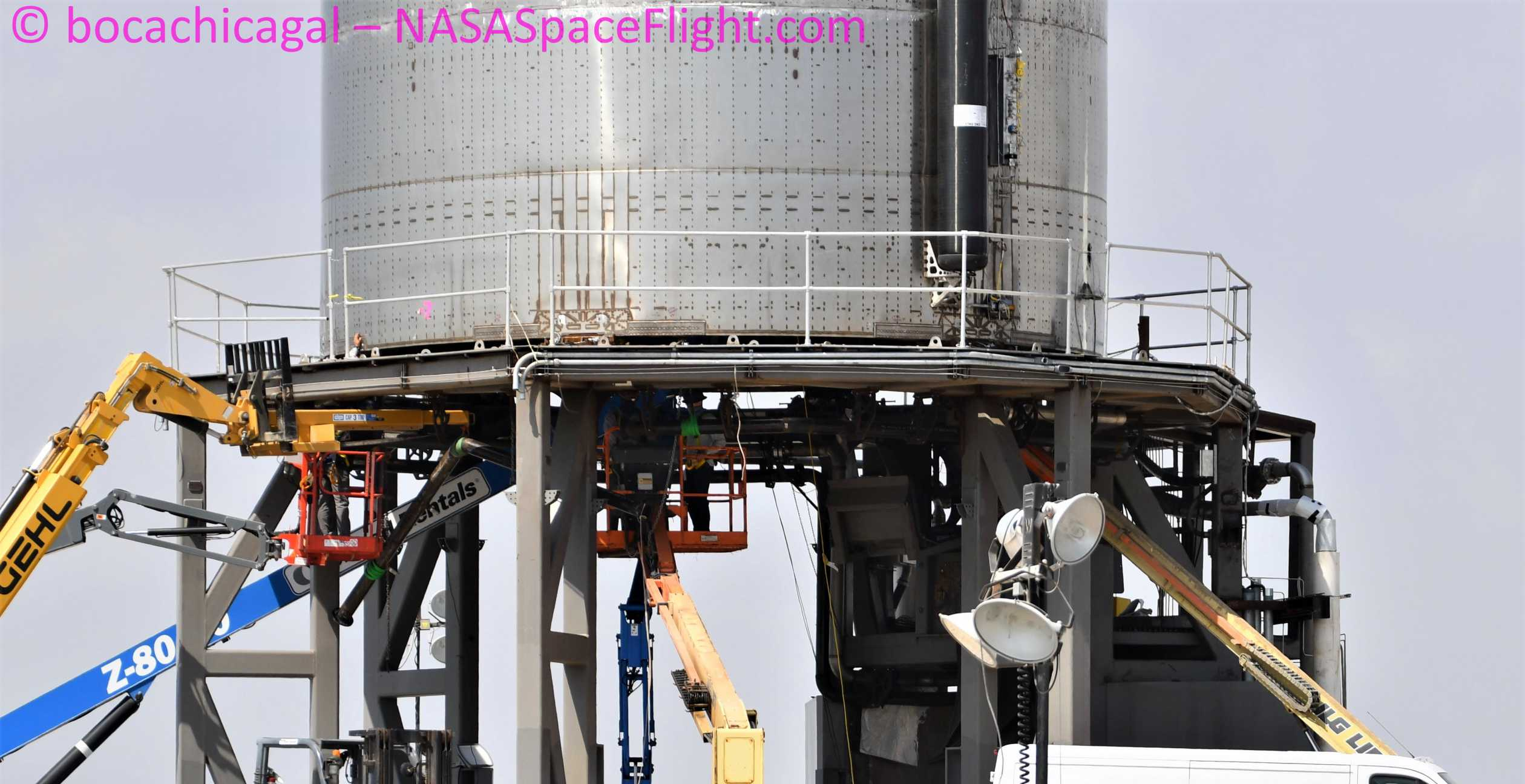 Starship Boca Chica 070620 (NASASpaceflight – bocachicagal) SN5 pad work 4 crop (c)