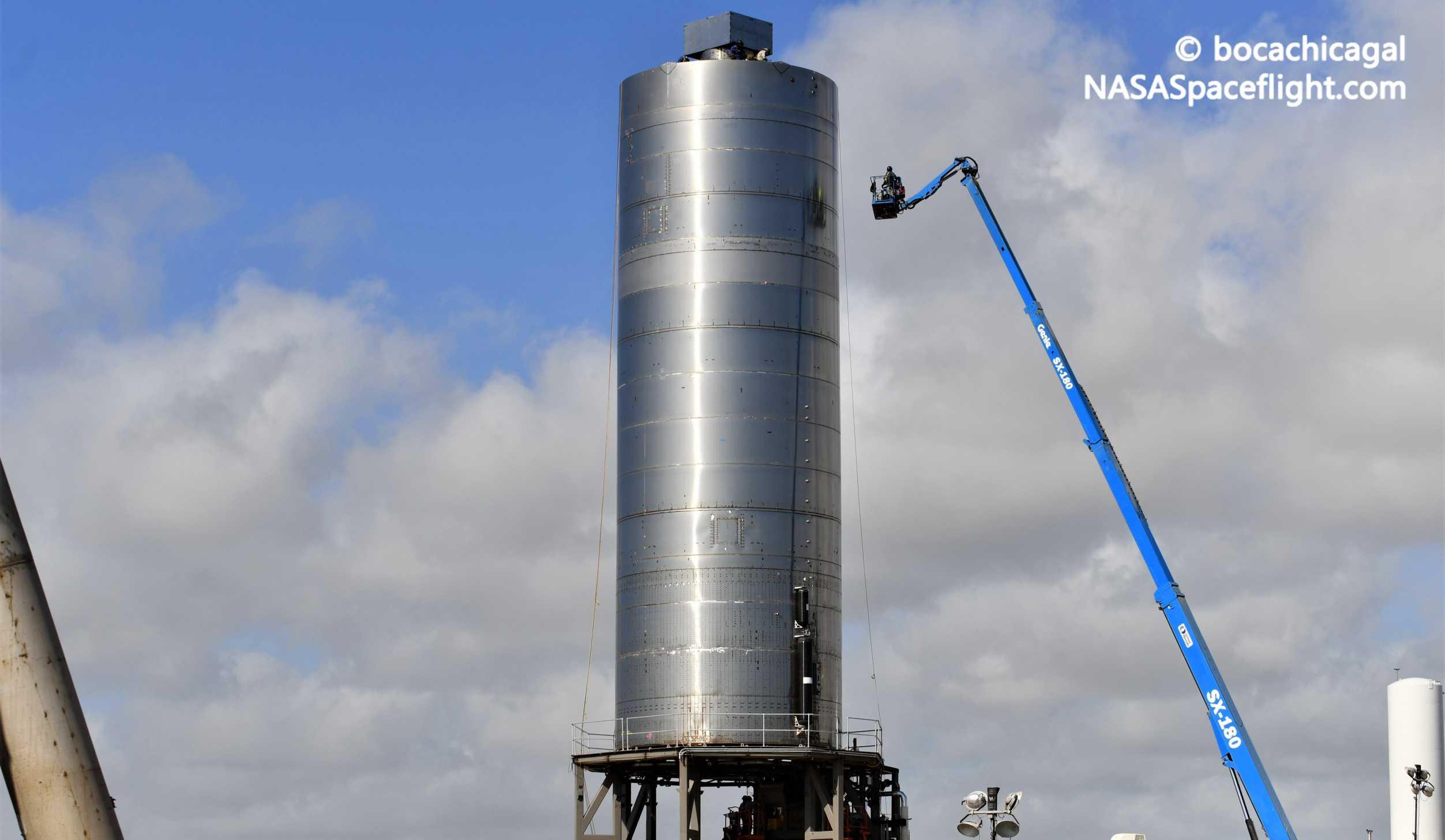 Starship Boca Chica 071420 (NASASpaceflight – bocachicagal) SN5 pad work 7 crop (c)