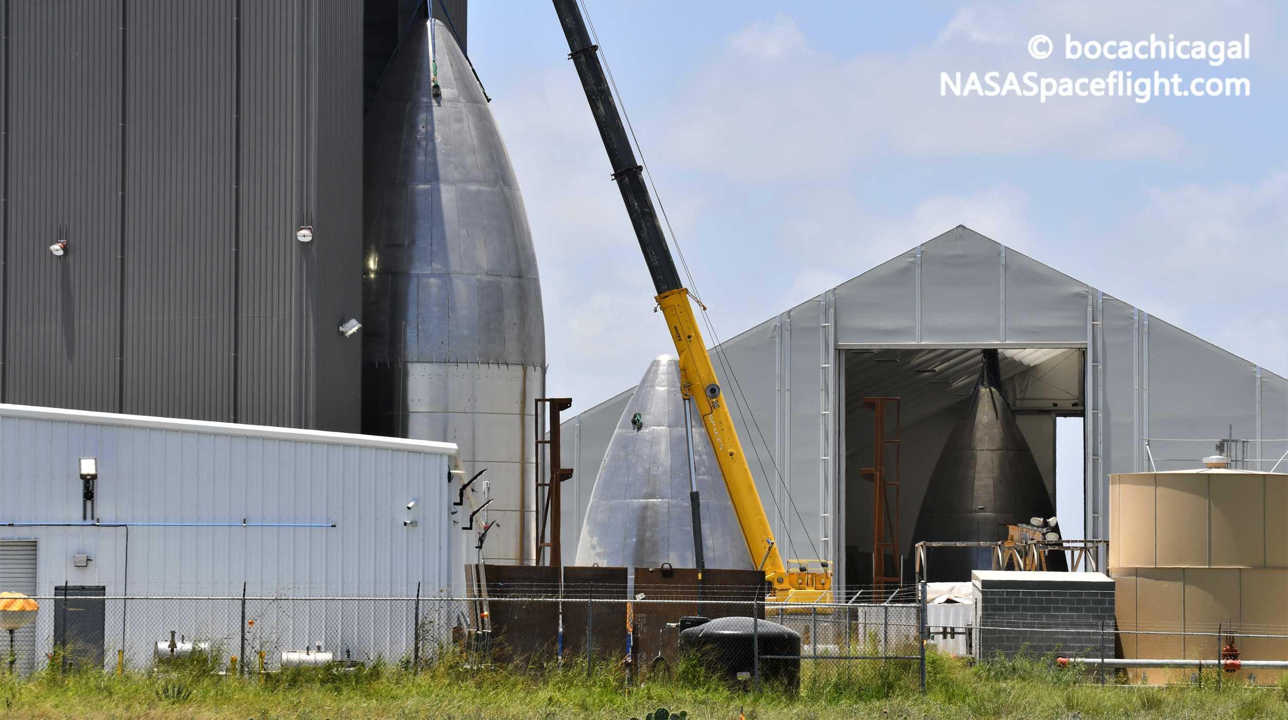 Starship Boca Chica 071420 (NASASpaceflight – bocachicagal) nose stack 10 crop (c)