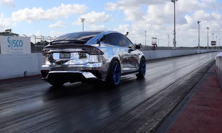 Tesla Model X sets 1/4 mile record (Credit: Drag Times via YouTube)