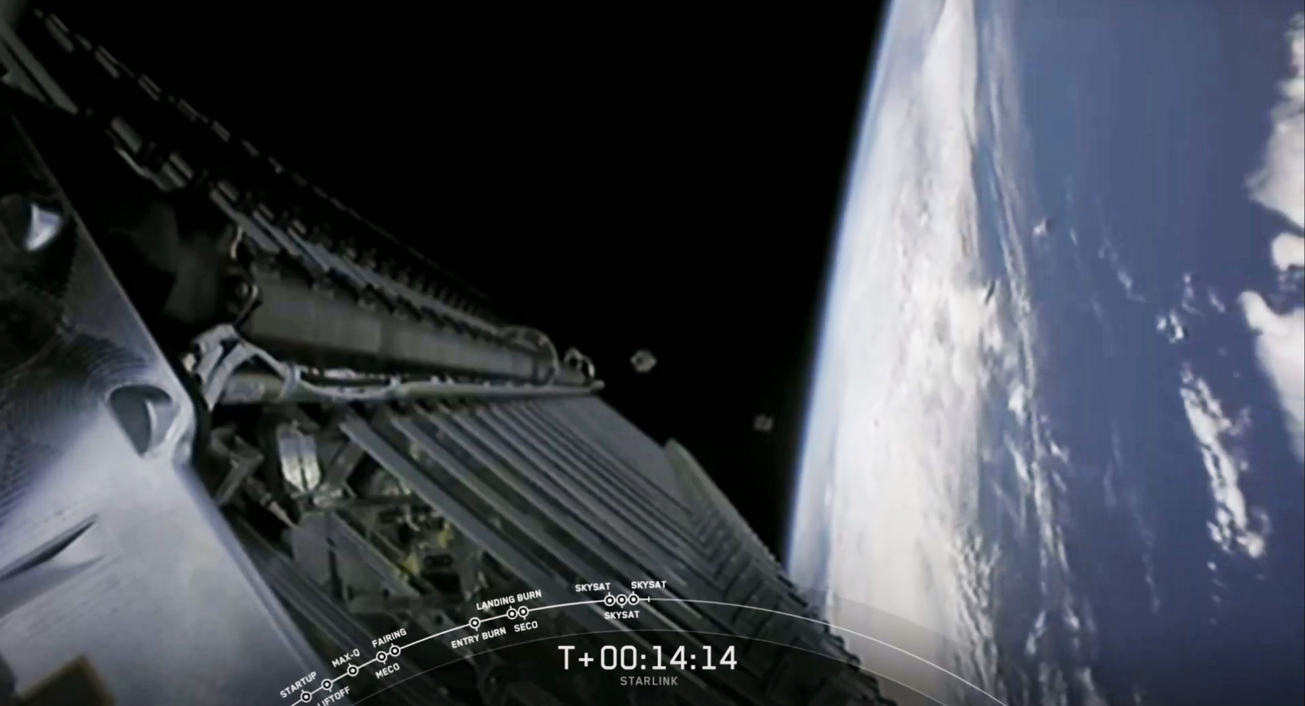 Starlink-10 SkySat Falcon 9 B1049 081820 webcast (SpaceX) SkySat deploy 1