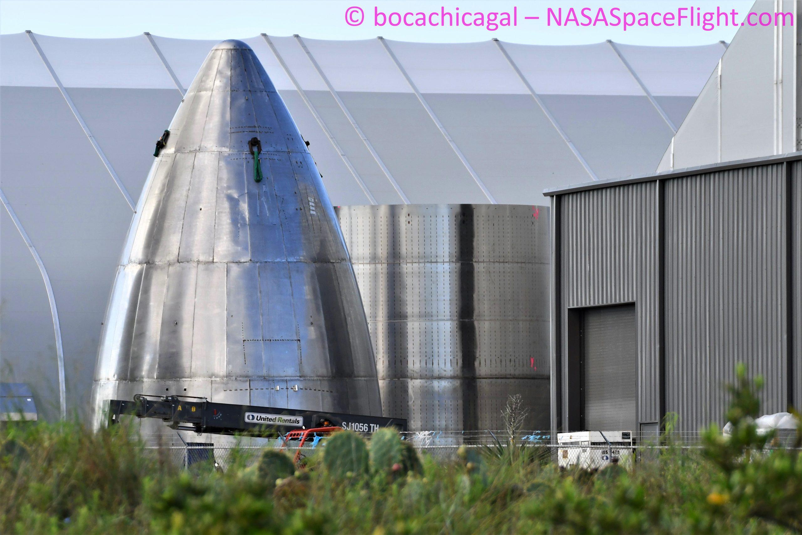 Starship Boca Chica 080520 (NASASpaceflight – bocachicagal) nose + ring work 1