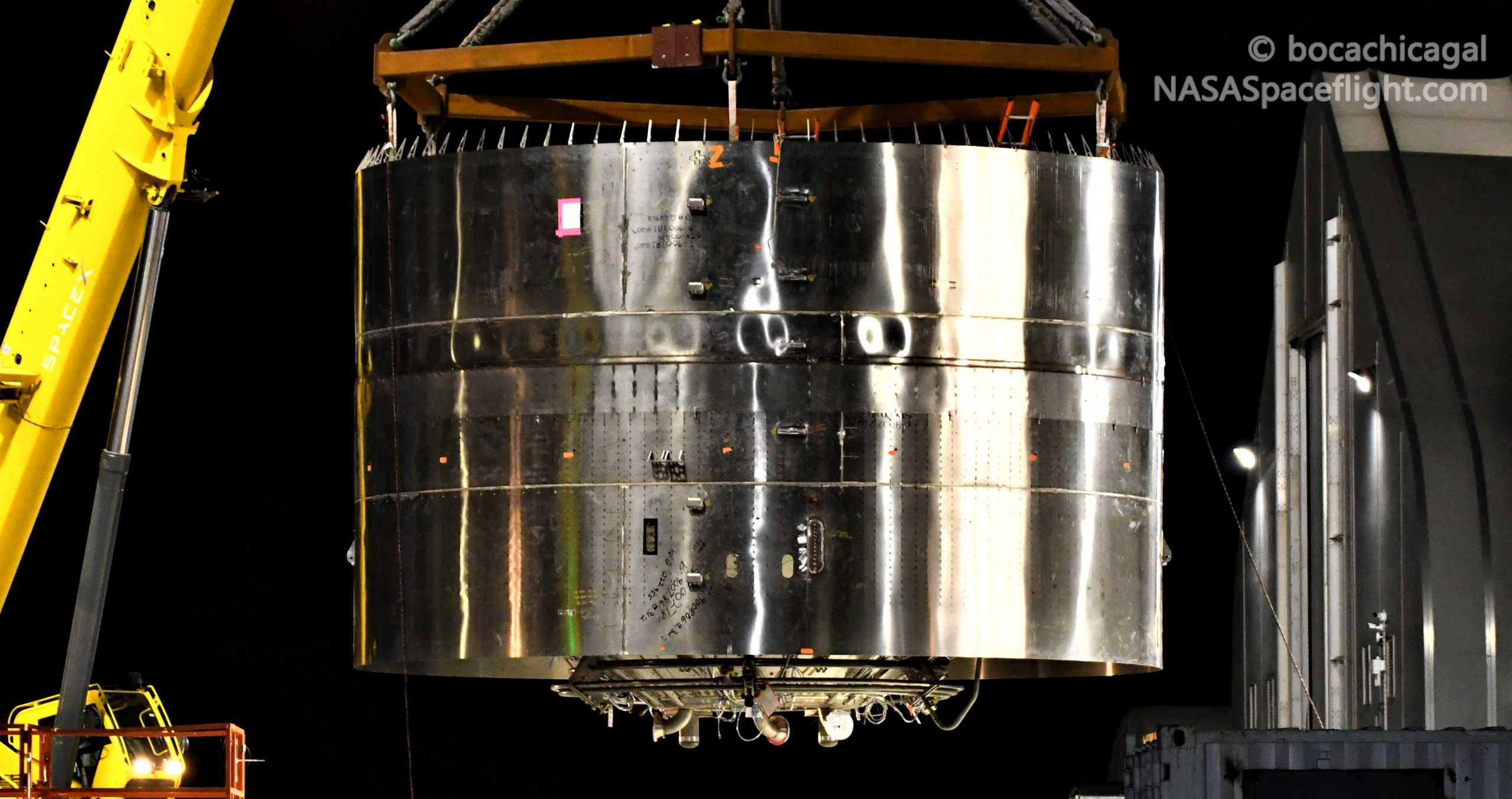 Starship Boca Chica 081920 (NASASpaceflight – bocachicagal) SN8 engine section skirt stack 3 crop (c)