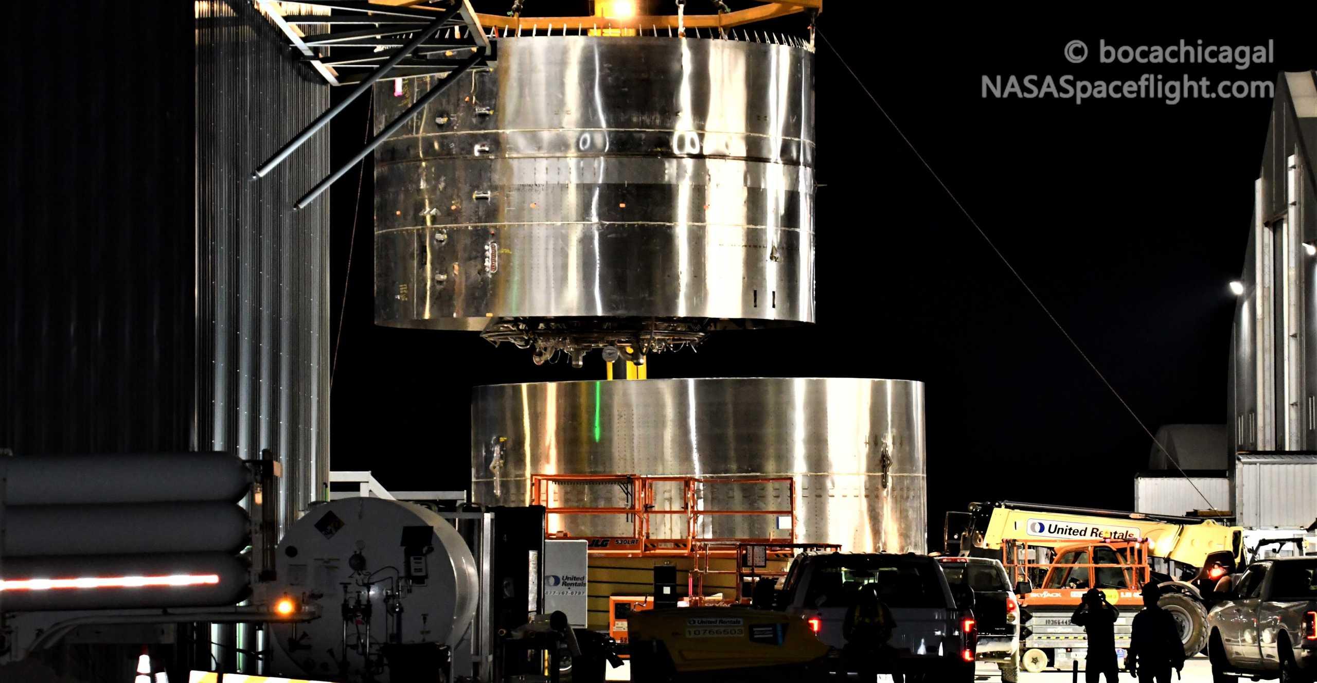 Starship Boca Chica 081920 (NASASpaceflight – bocachicagal) SN8 engine section skirt stack 4 crop (c)