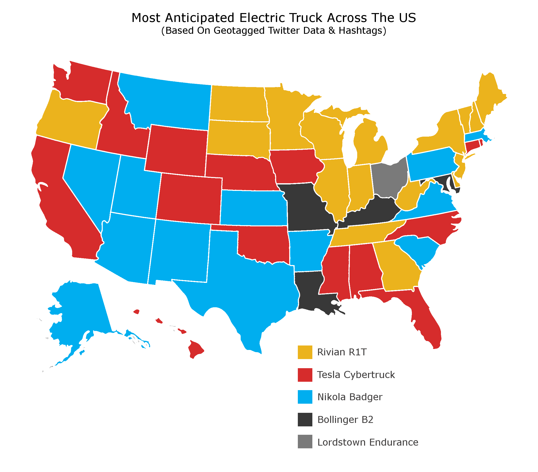 Electric Pickup Truck popularity map by PartCatalog.com