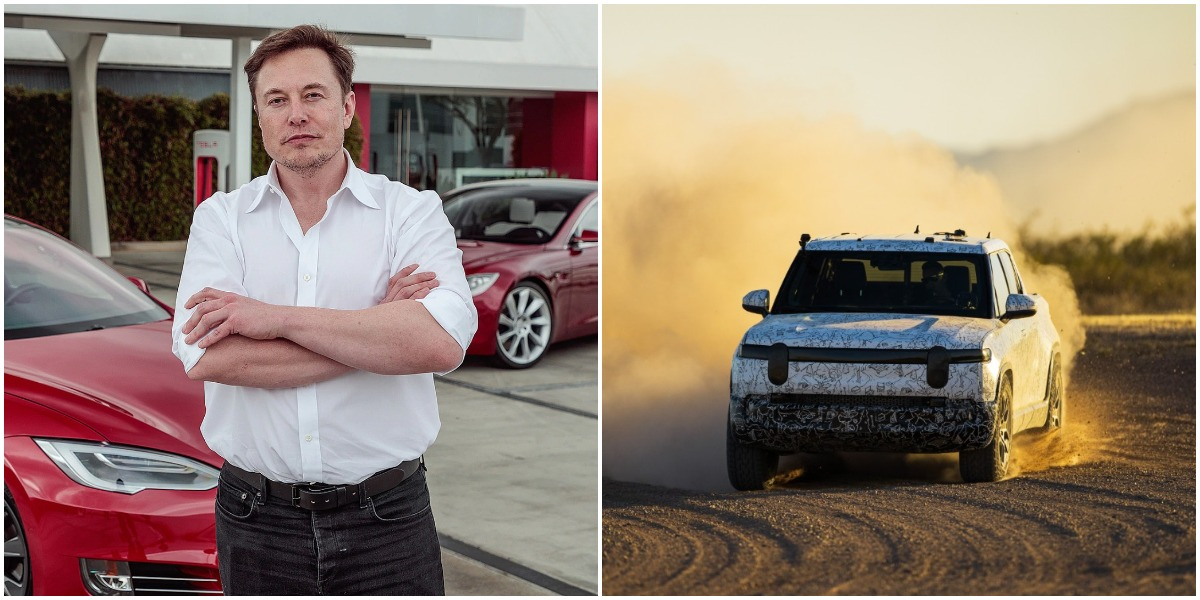 "photo of Tesla's Elon Musk talks Rivian lawsuit, ""They're doing bad things, so we sued them"" image"