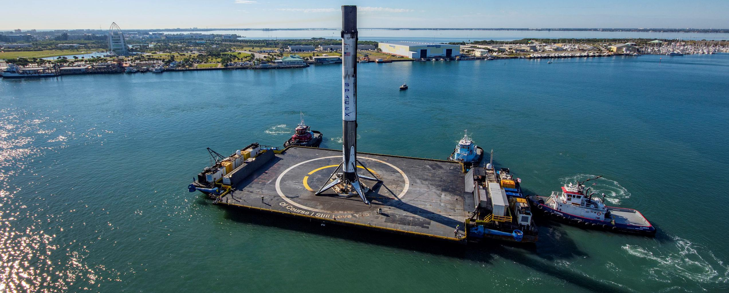 CRS-19 Falcon 9 B1059 OCISLY 120519 (SpaceX) port arrival 1 crop 3 (c)
