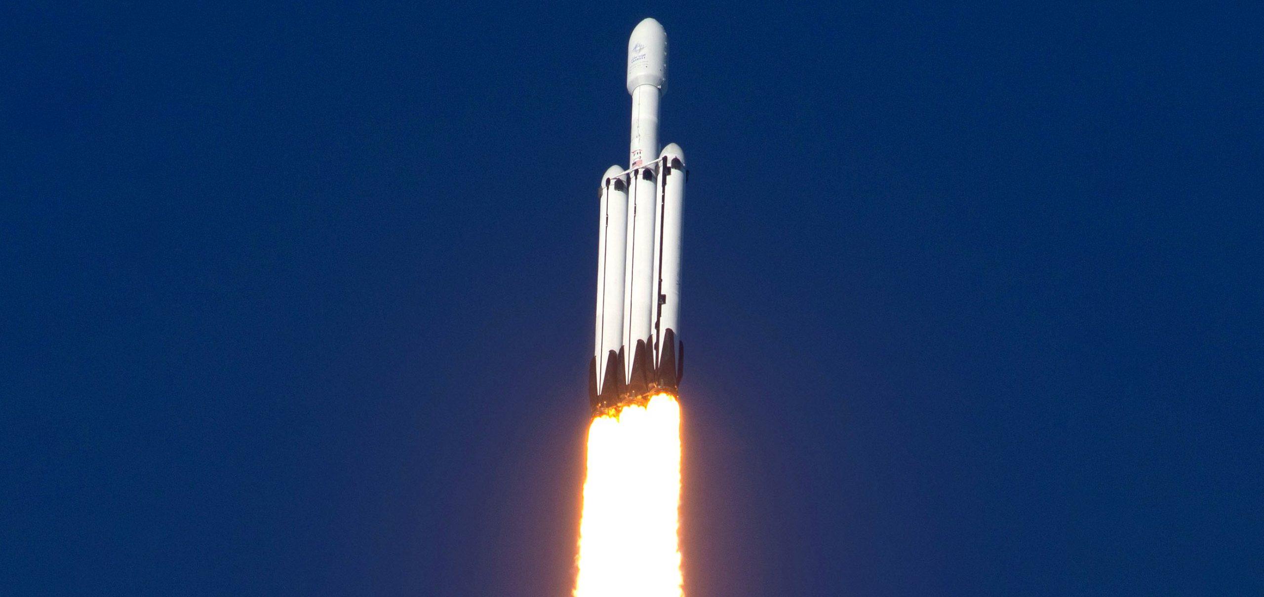 Falcon Heavy Flight 2 liftoff (SpaceX) 3 wide crop