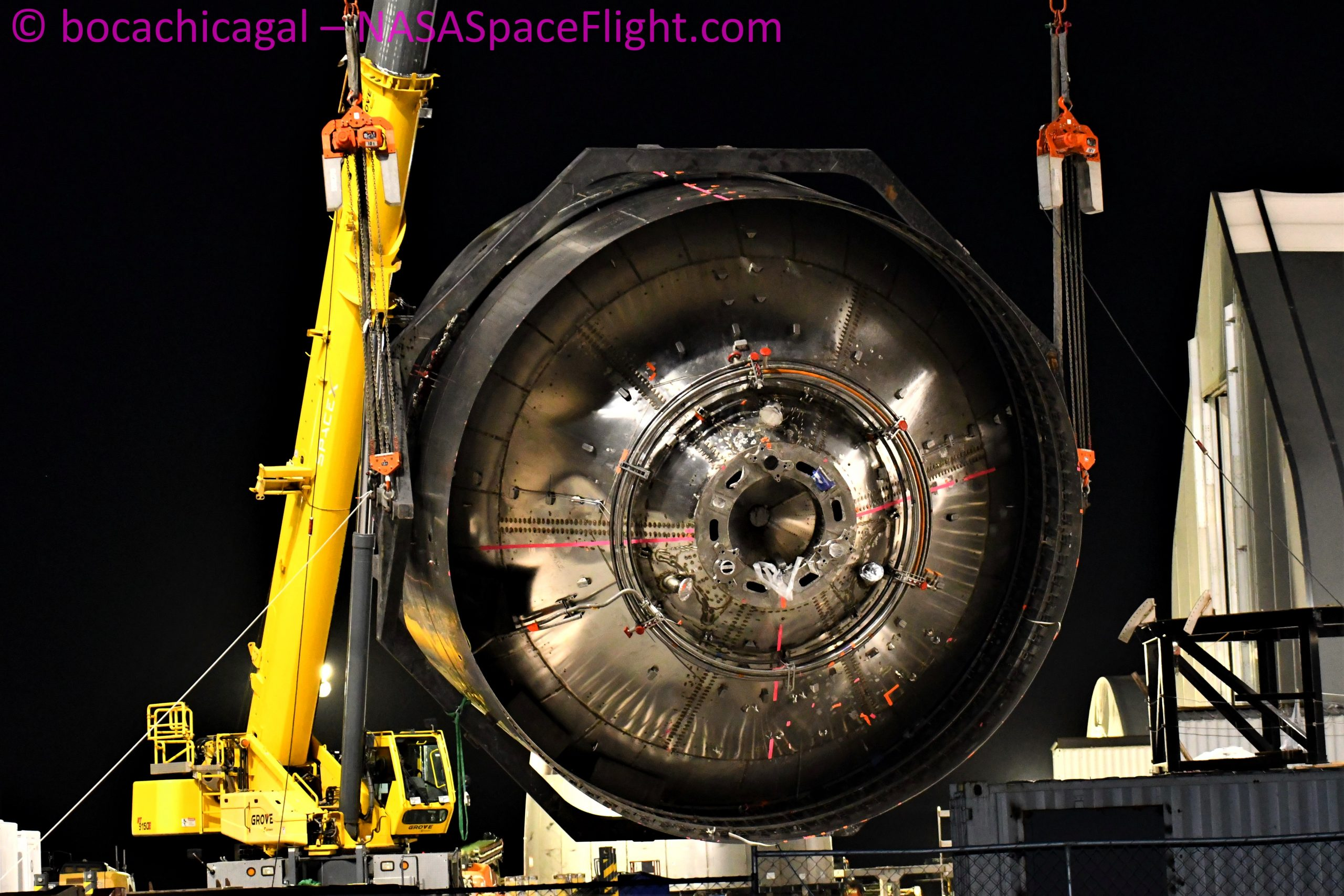 Starship Boca Chica 060320 (NASASpaceflight – bocachicagal) SN6 engine section flip 4
