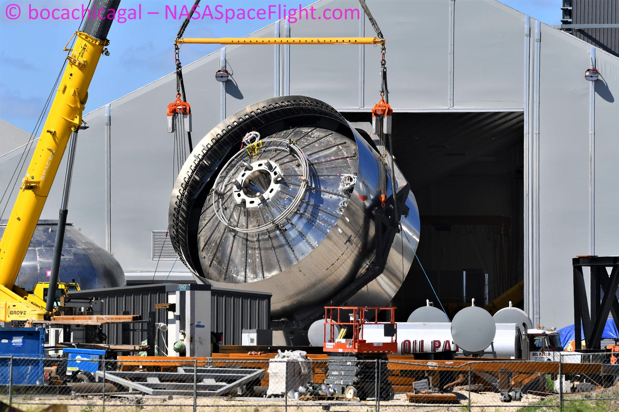 Starship Boca Chica 081520 (NASASpaceflight – bocachicagal) SN8 engine section flip 2