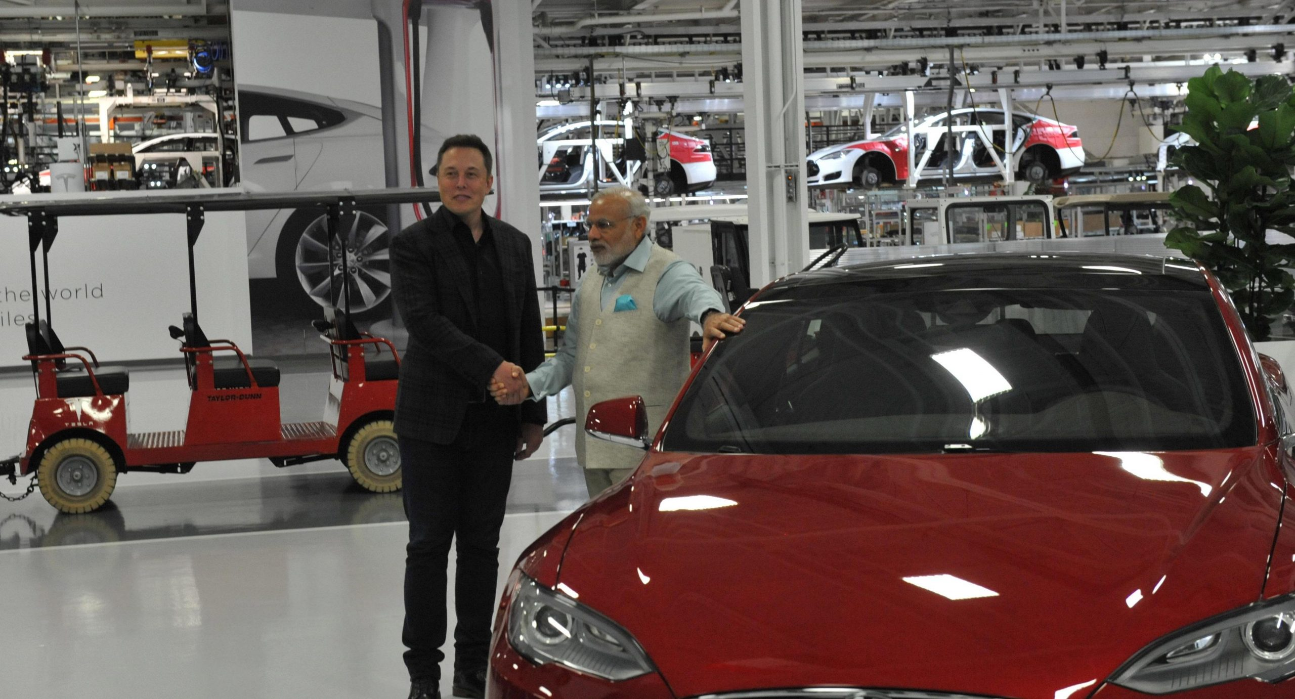 Tesla CEO Elon Musk with India Prime Minister Narendra Modi