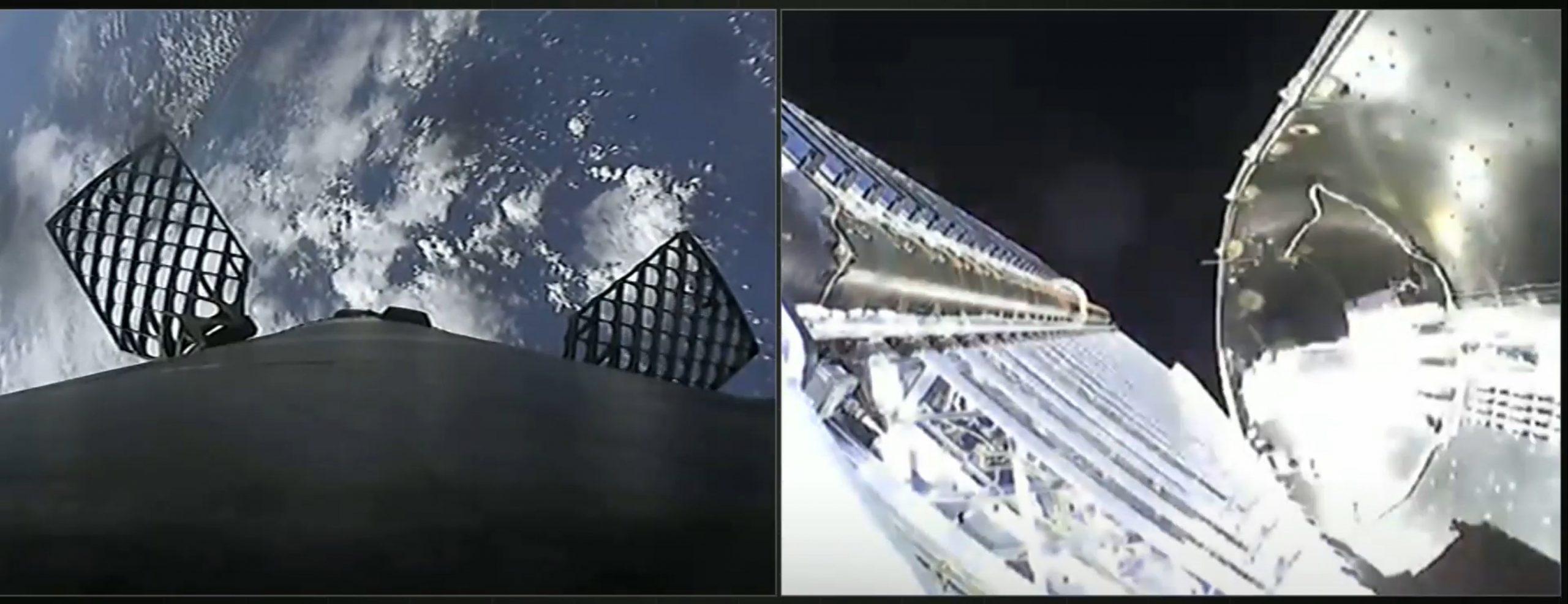 Starlink-14 Falcon 9 B1060 102420 webcast (SpaceX) fairing sep 1