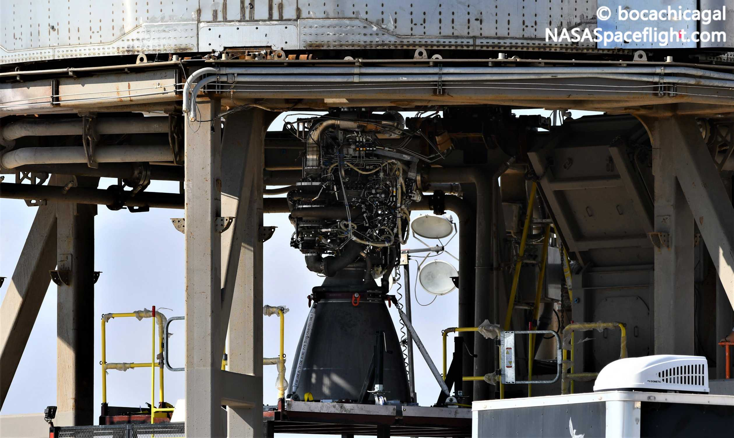 Starship Boca Chica 101120 (NASASpaceflight – bocachicagal) SN8 Raptor install 3 crop (c)