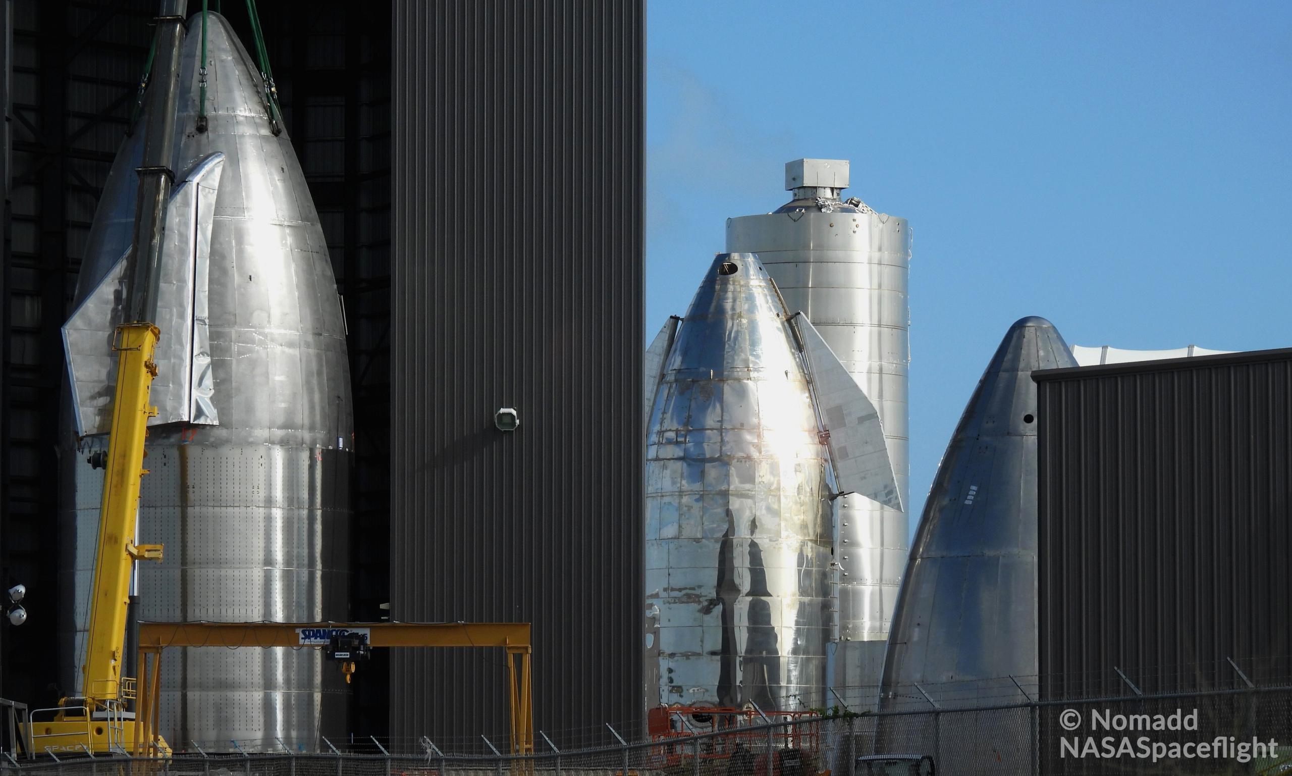 Starship Boca Chica 101920 (NASASpaceflight – Nomadd) SN8 nose stack 2 crop (c)