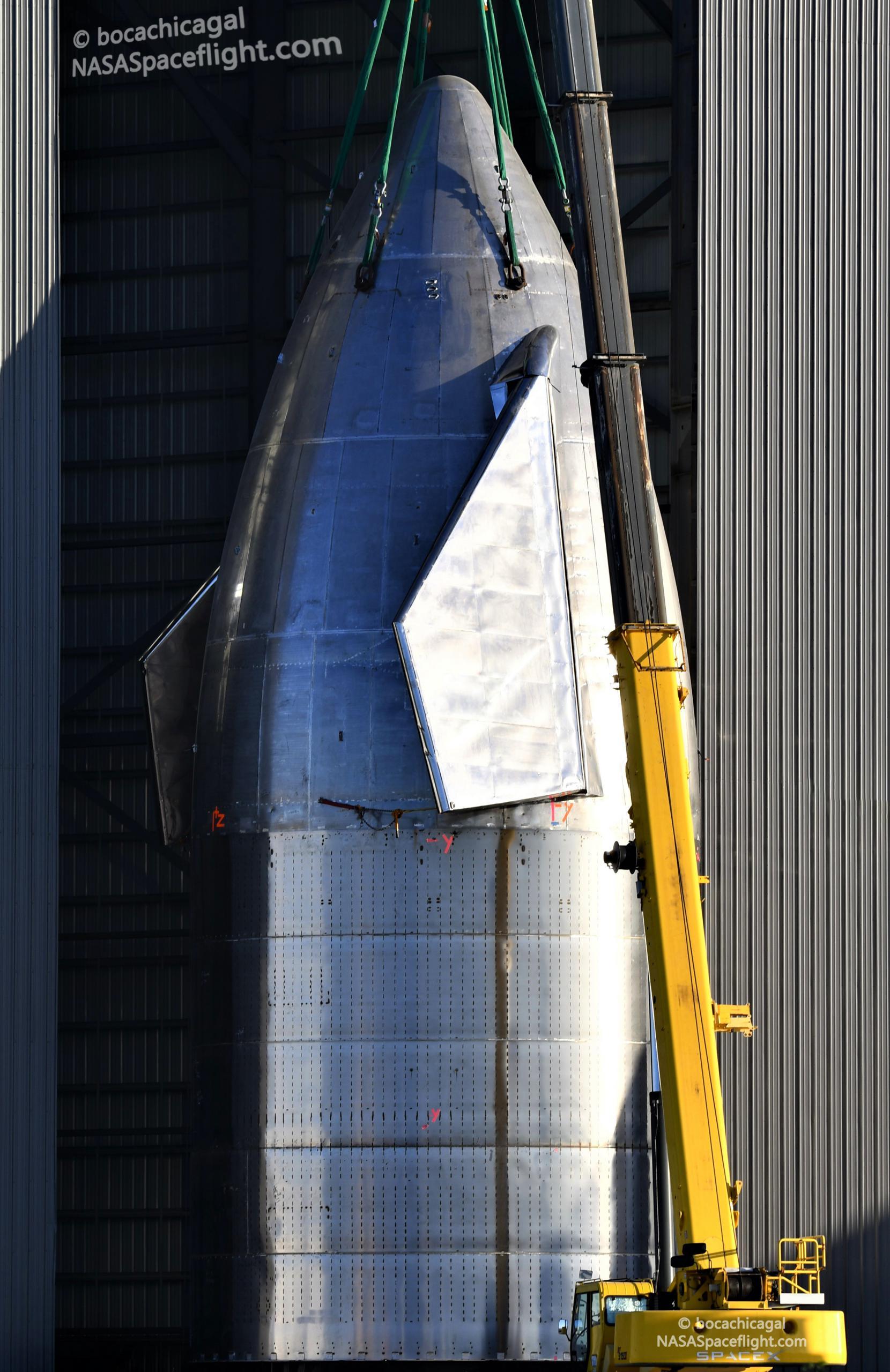 Starship Boca Chica 101920 (NASASpaceflight – bocachicagal) SN8 nosecone stack 6 (c)