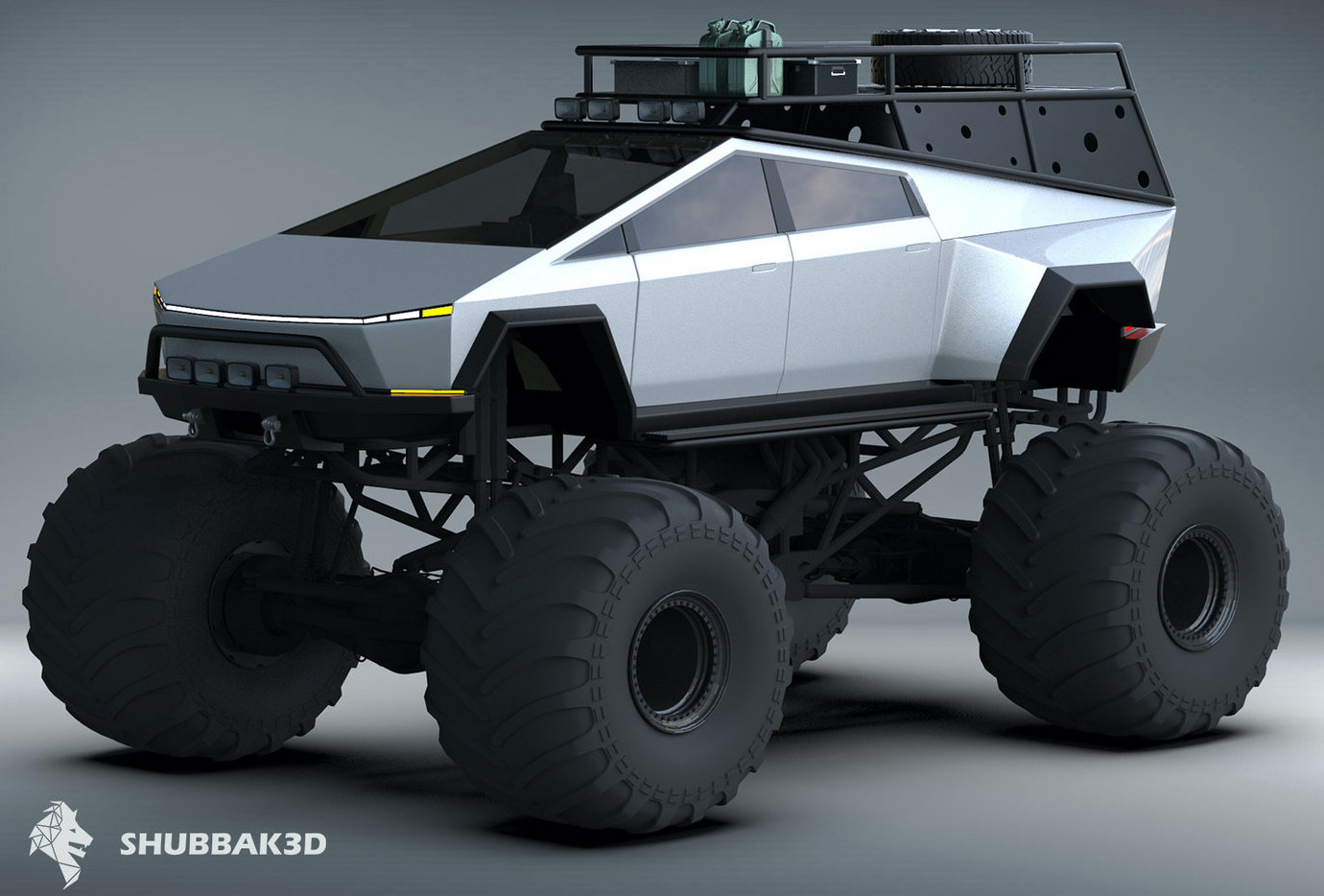 Tesla Monster Cybertruck Concept Makes Traditional Monster Trucks Look Tame