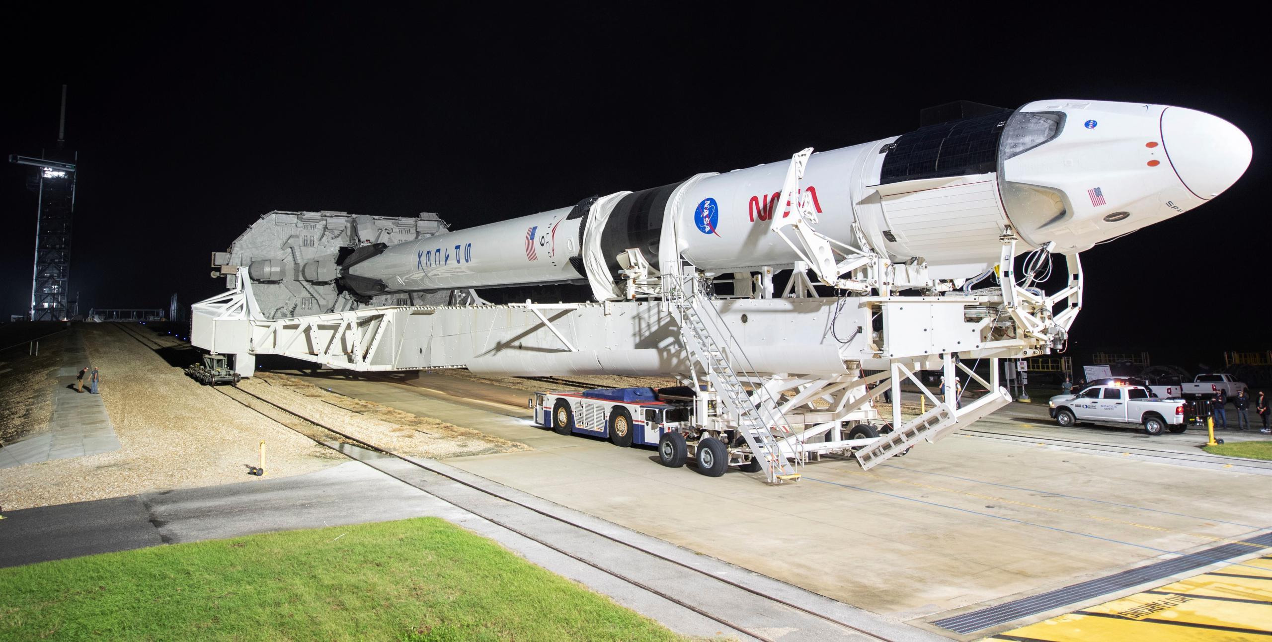 Crew-1 Crew Dragon C207 Falcon 9 B1061 39A 110820 (NASA) rollout 1 (c)