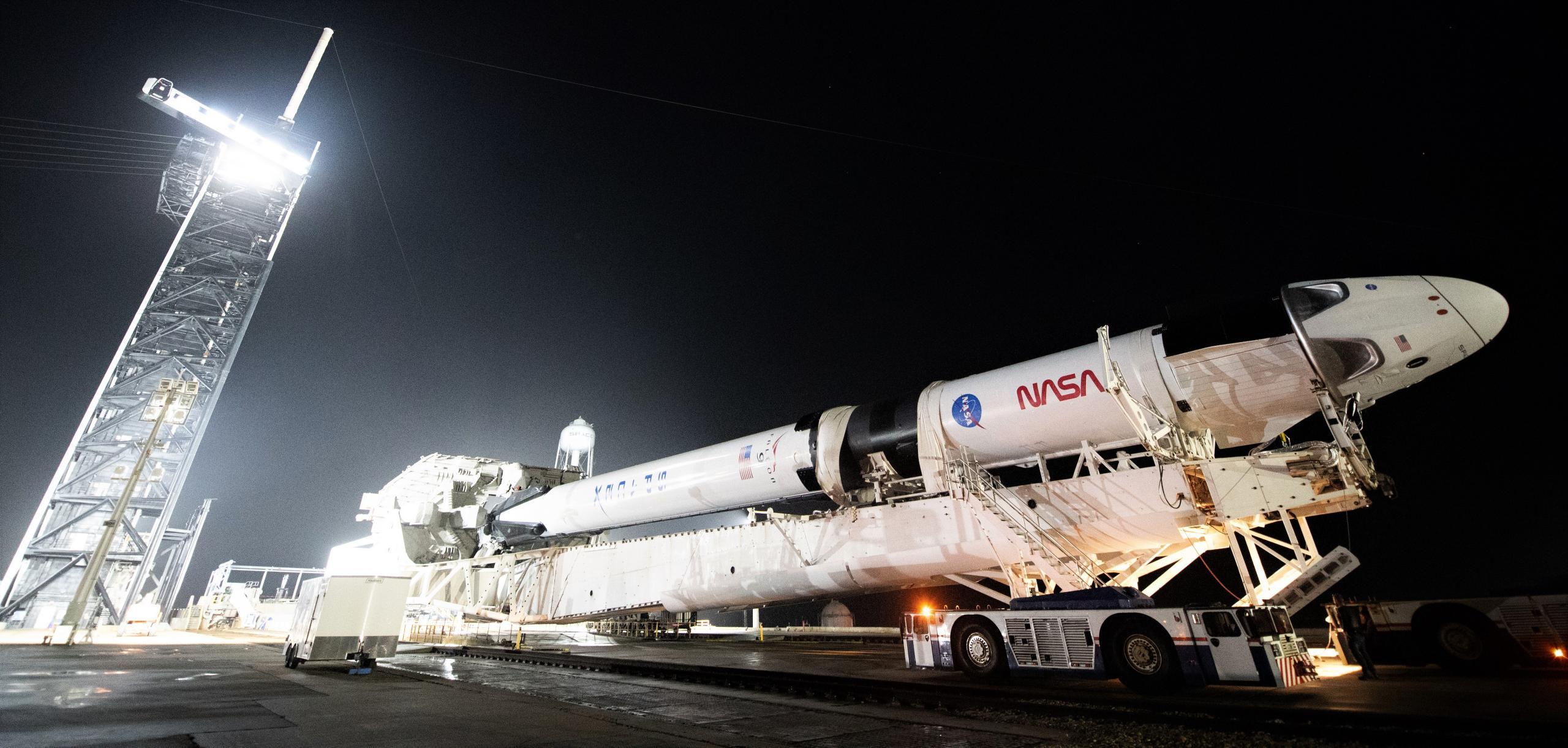 Crew-1 Crew Dragon C207 Falcon 9 B1061 39A 110820 (NASA) rollout 10 crop (c)
