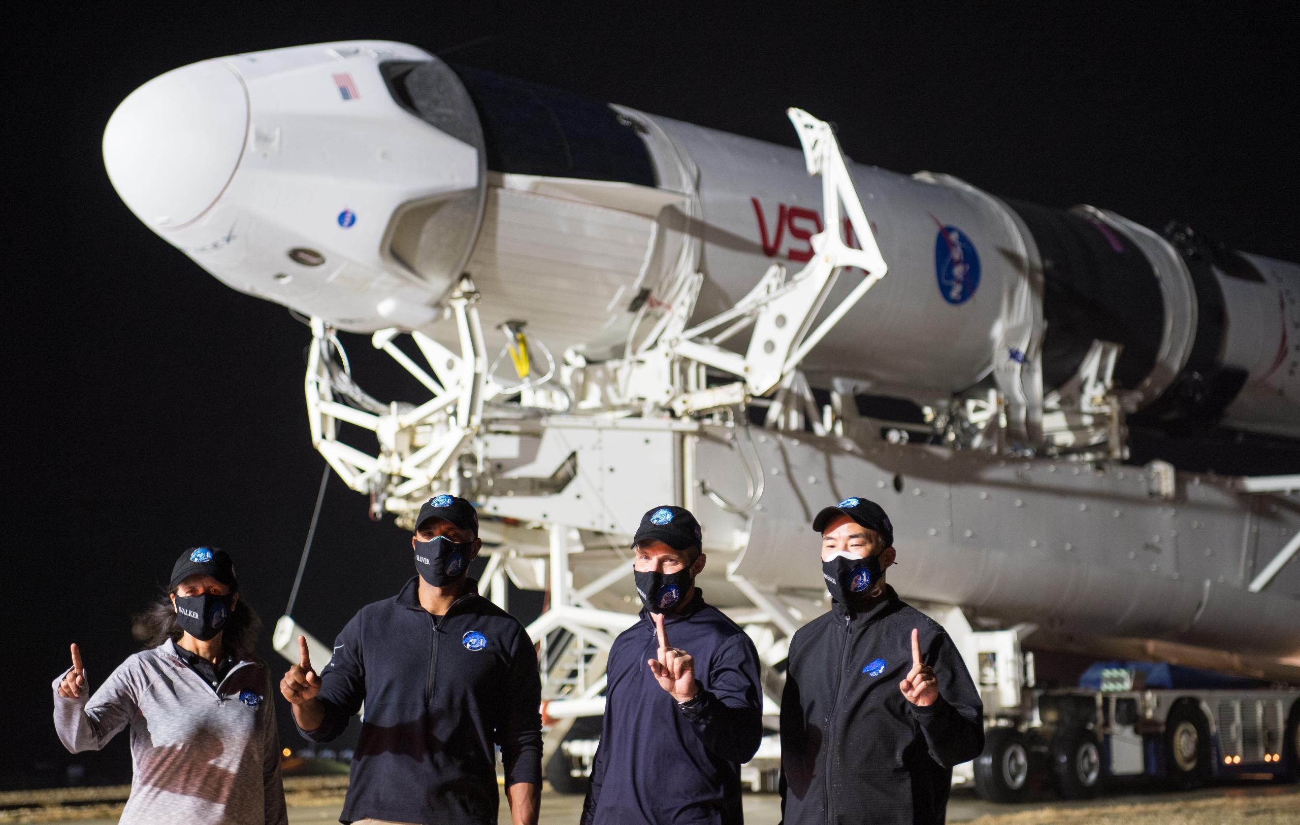 Crew-1 Crew Dragon C207 Falcon 9 B1061 39A 110820 (NASA) rollout 5 (c)