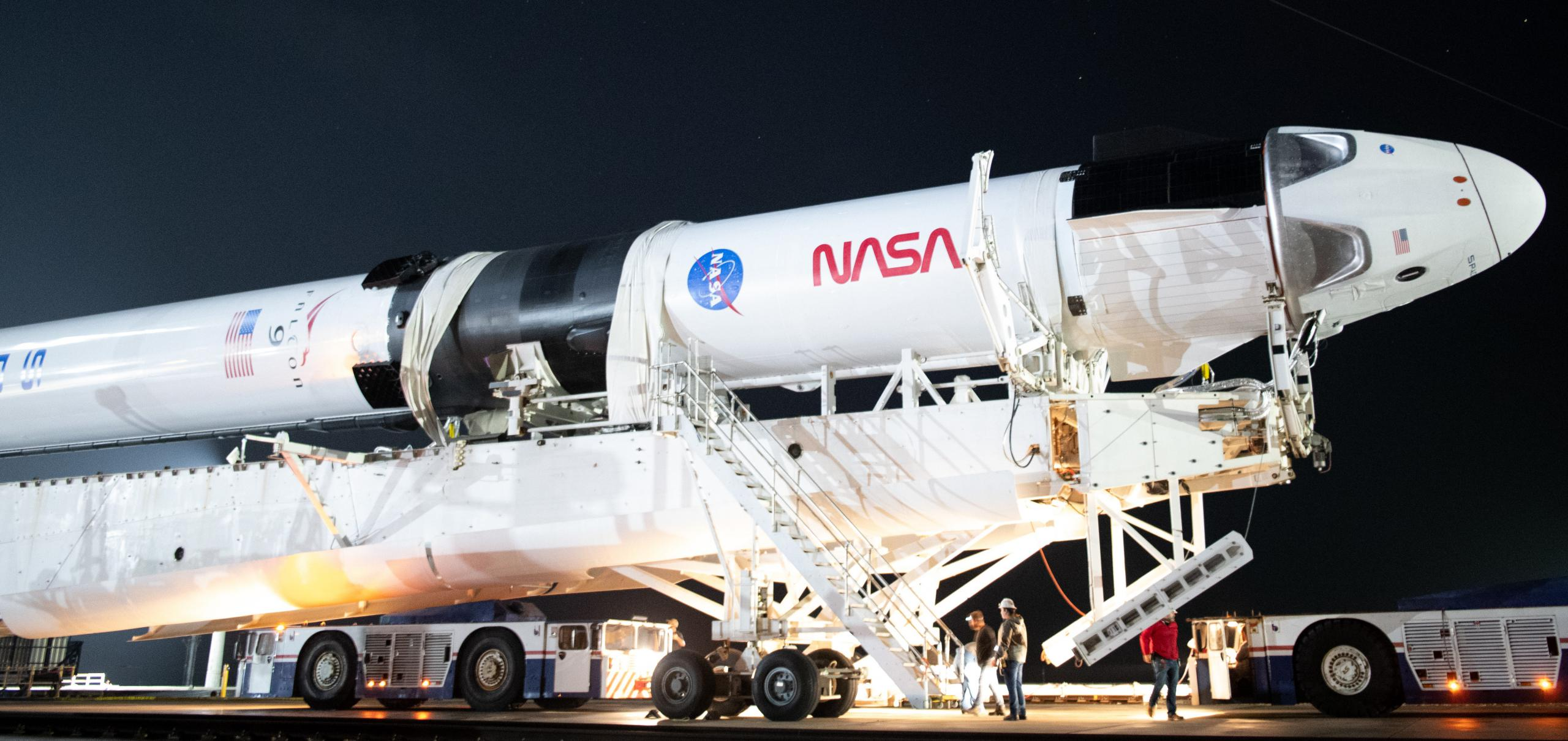 Crew-1 Crew Dragon C207 Falcon 9 B1061 39A 110820 (NASA) rollout 9 crop (c)