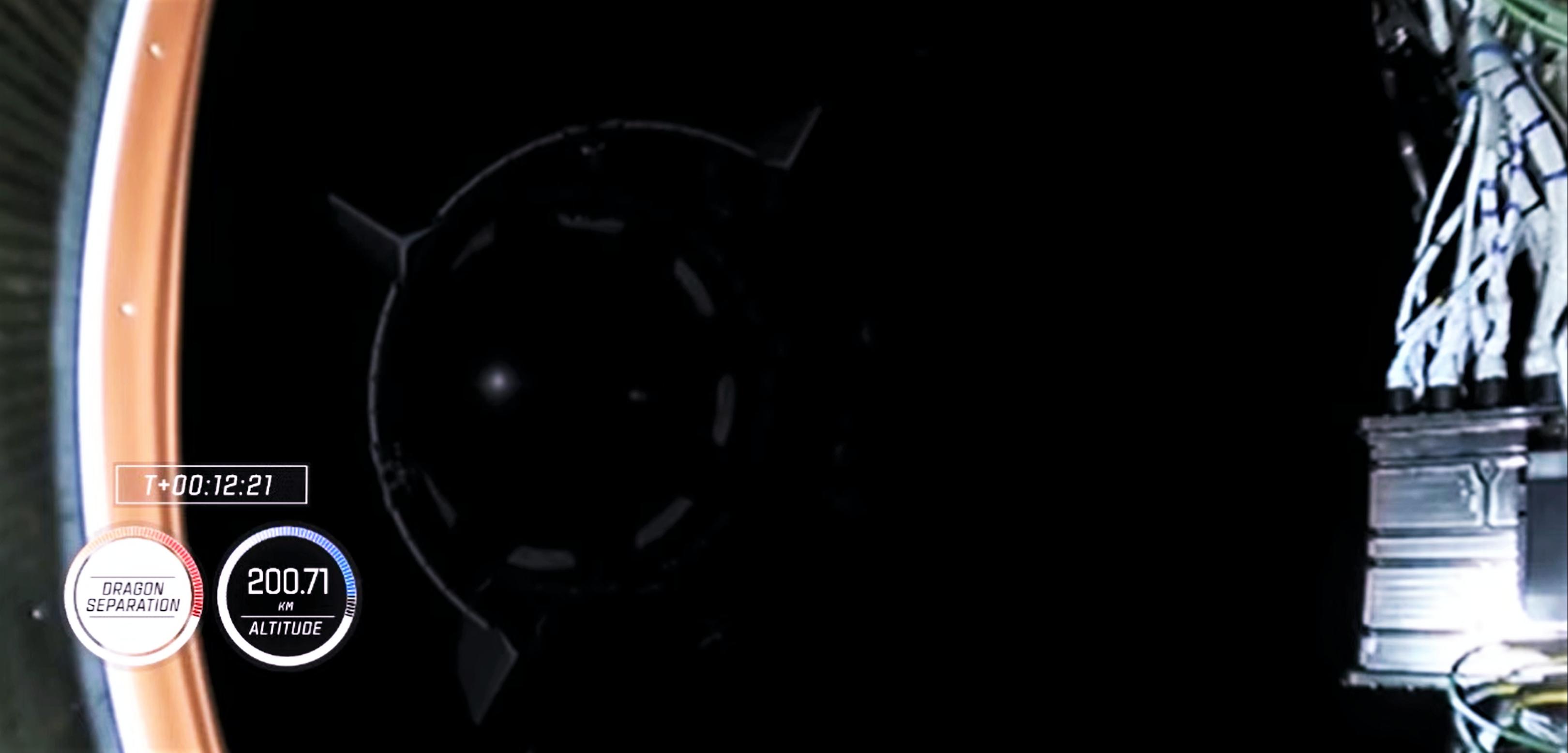 Crew-1 Crew Dragon C207 Falcon 9 B1061 webcast 111520 (NASA) deploy 1