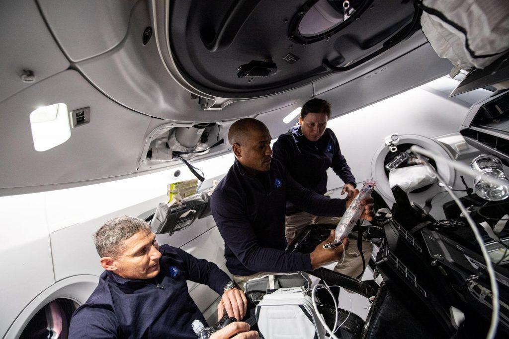 Crew Dragon Crew-1 orbital ops 111620 (NASA) Hopkins Glover Walker toilet 1  (c) - TESLARATI