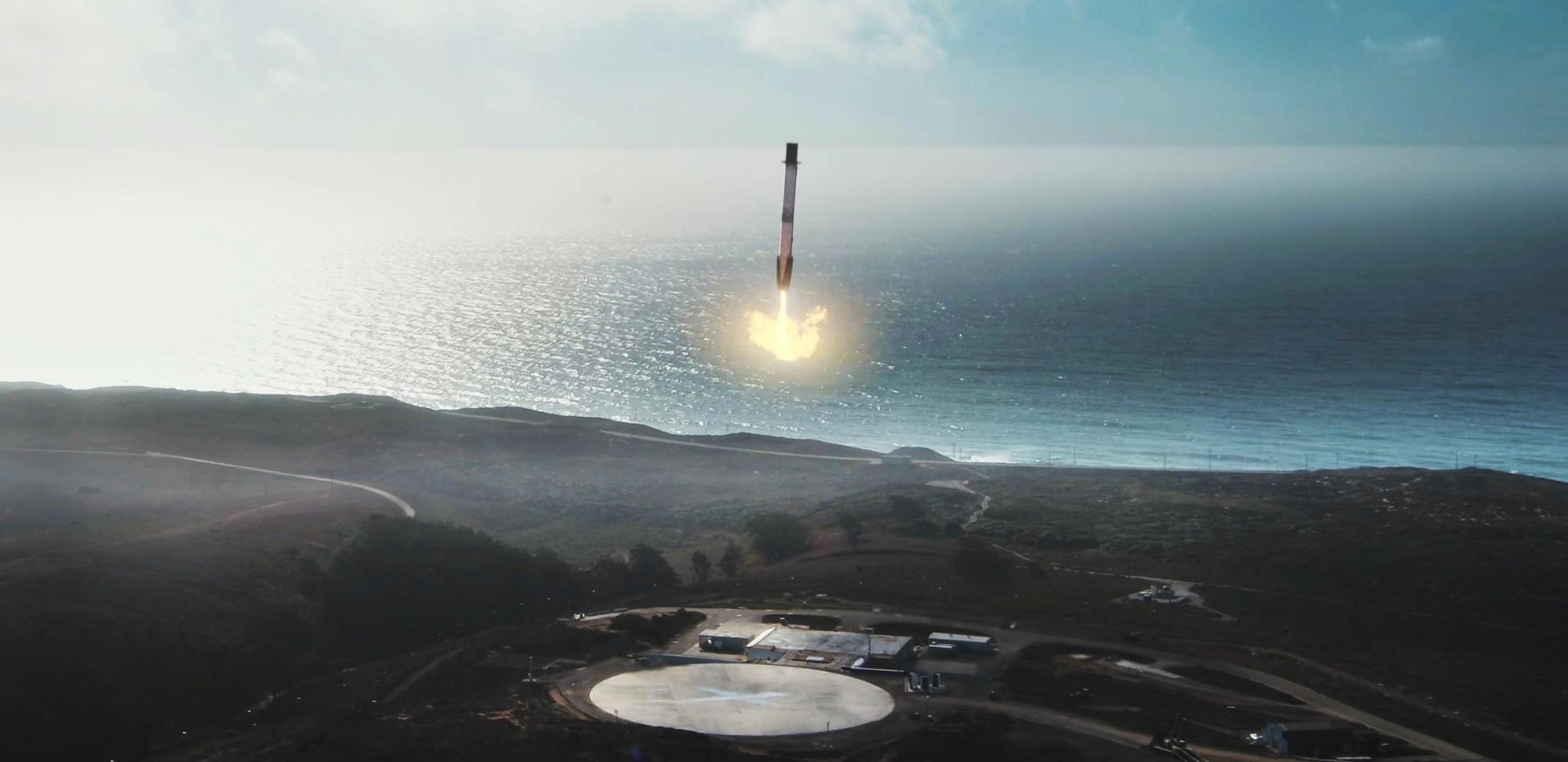 Sentinel 6A Falcon 9 SLC-4E launch animation (SpaceX) landing 2 crop
