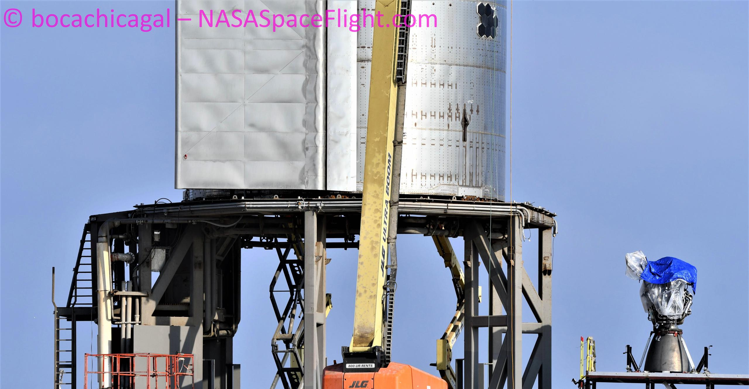 Starship Boca Chica 111520 (NASASpaceflight – bocachicagal) SN8 Raptor SN42 install abort 1 crop (c)