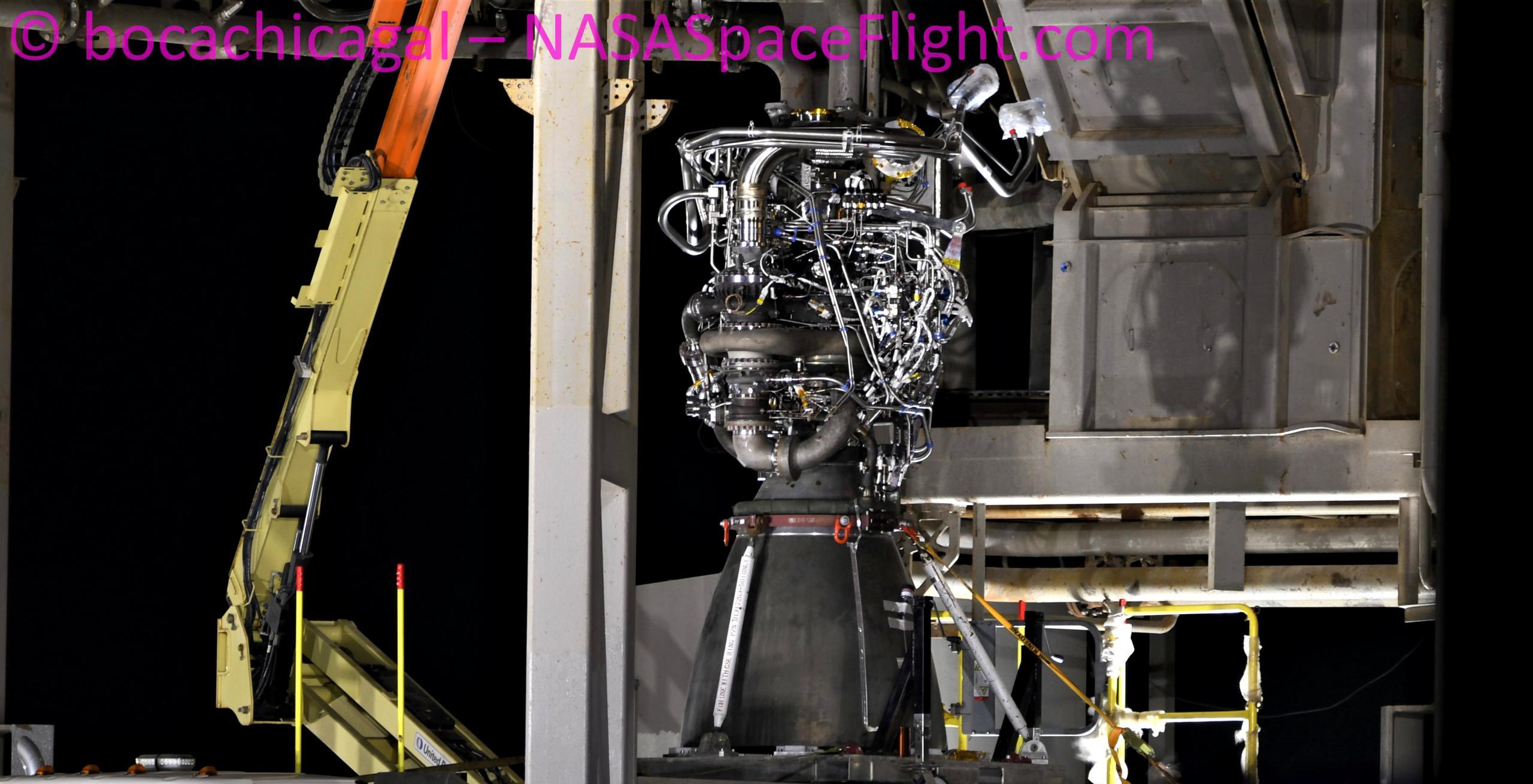 Starship Boca Chica 111620 (NASASpaceflight – bocachicagal) SN8 Raptor SN42 install 1 crop (c)