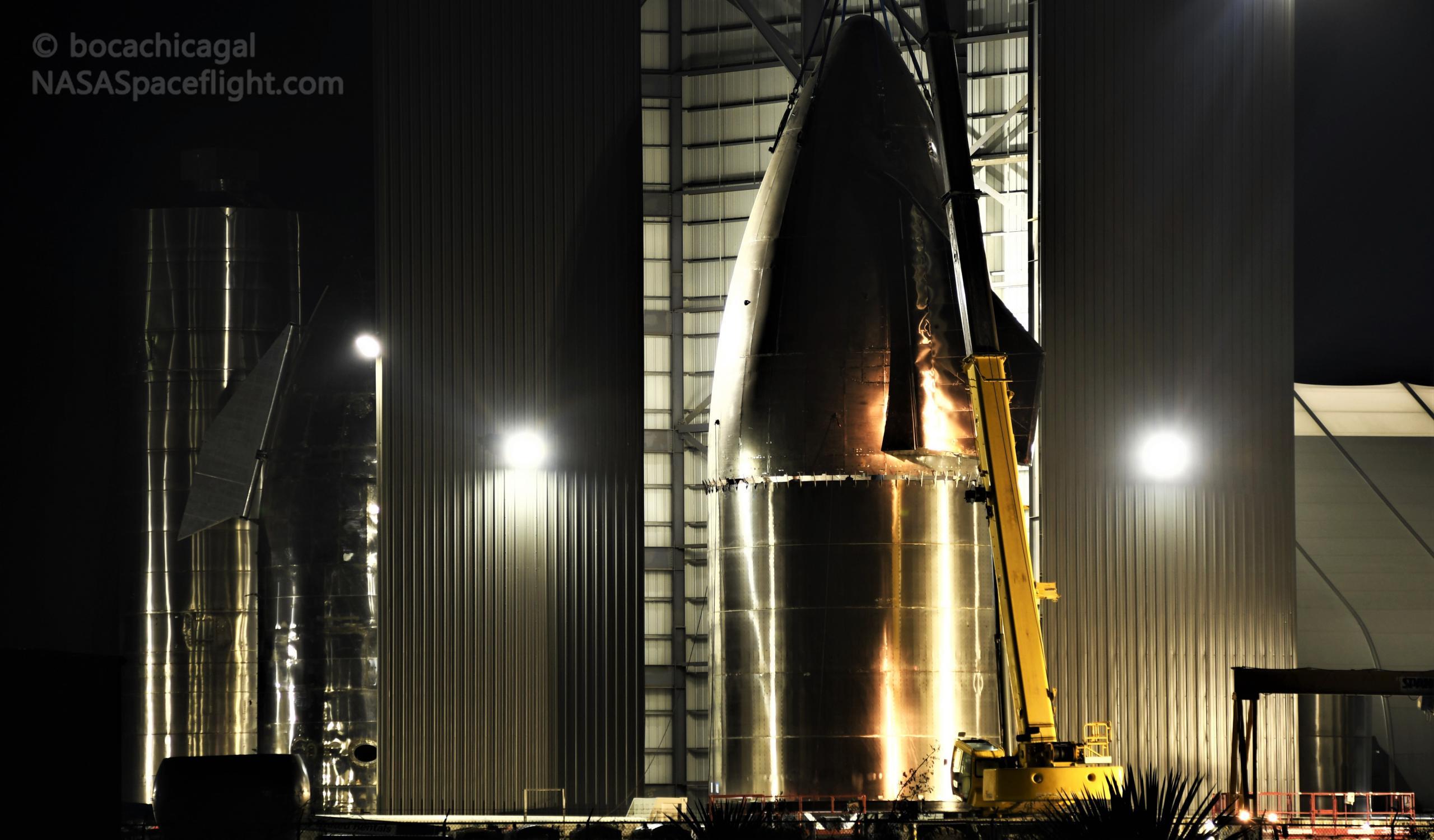 Starship Boca Chica 112020 (NASASpaceflight – bocachicagal) SN9 nosecone stack 2 crop (c)
