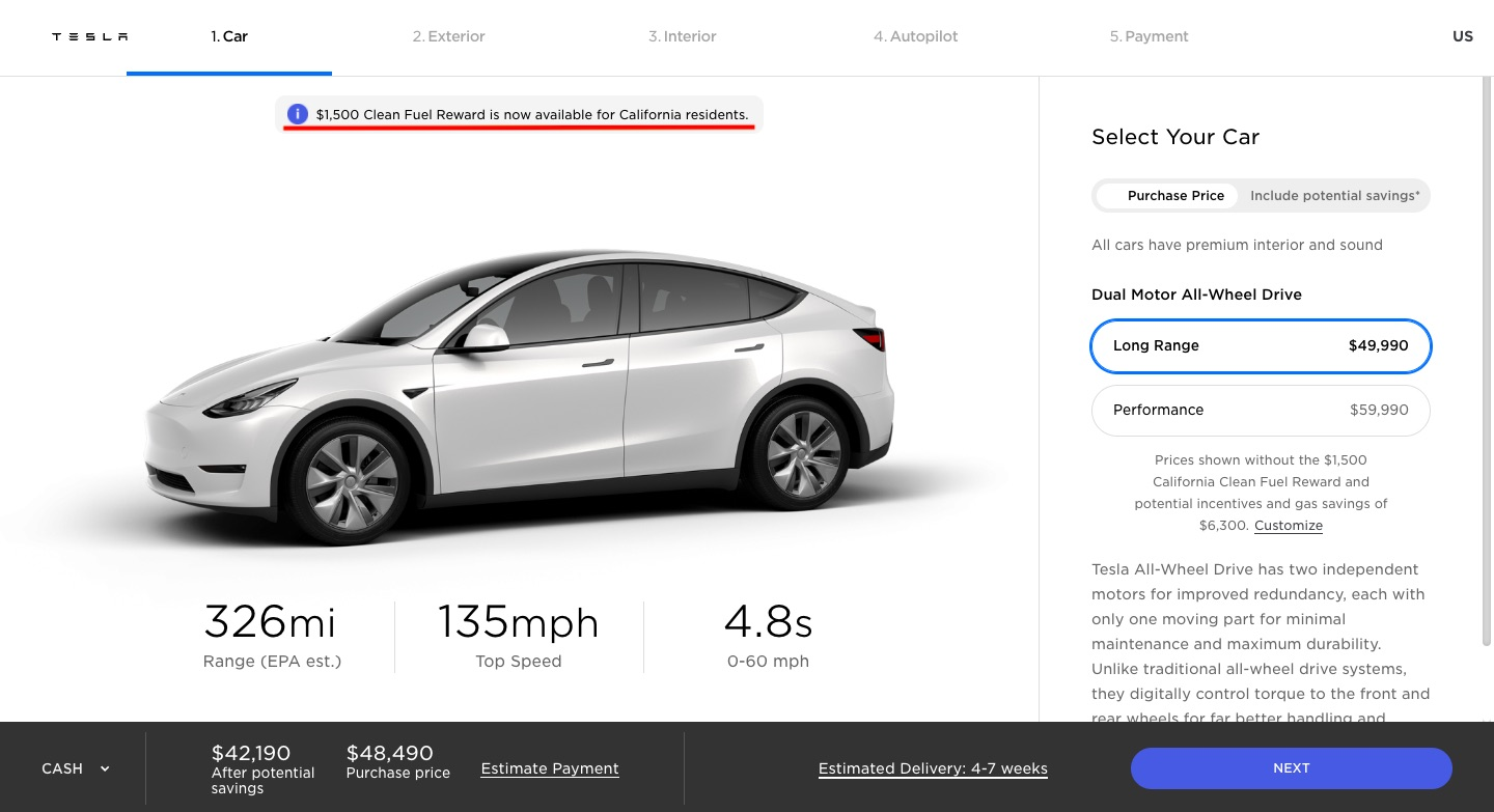tesla-model-y-CA-clean-fuel-reward