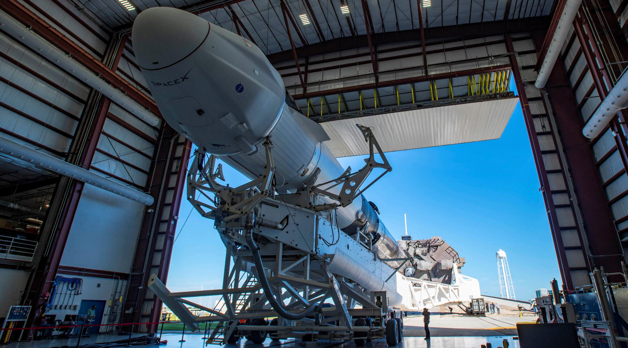 CRS-21 Cargo Dragon 2 Falcon 9 B1058 120220 (SpaceX) rollout 1 crop (c)