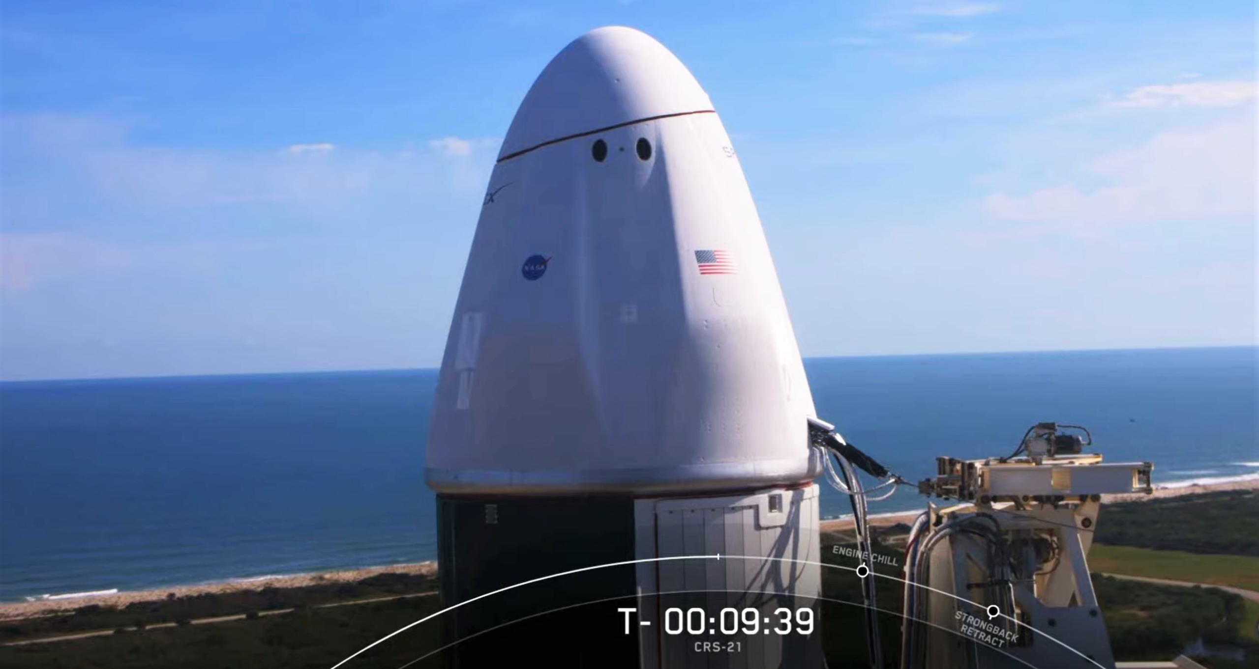 CRS-21 Cargo Dragon 2 Falcon 9 B1058 120620 webcast (SpaceX) 3 (c)