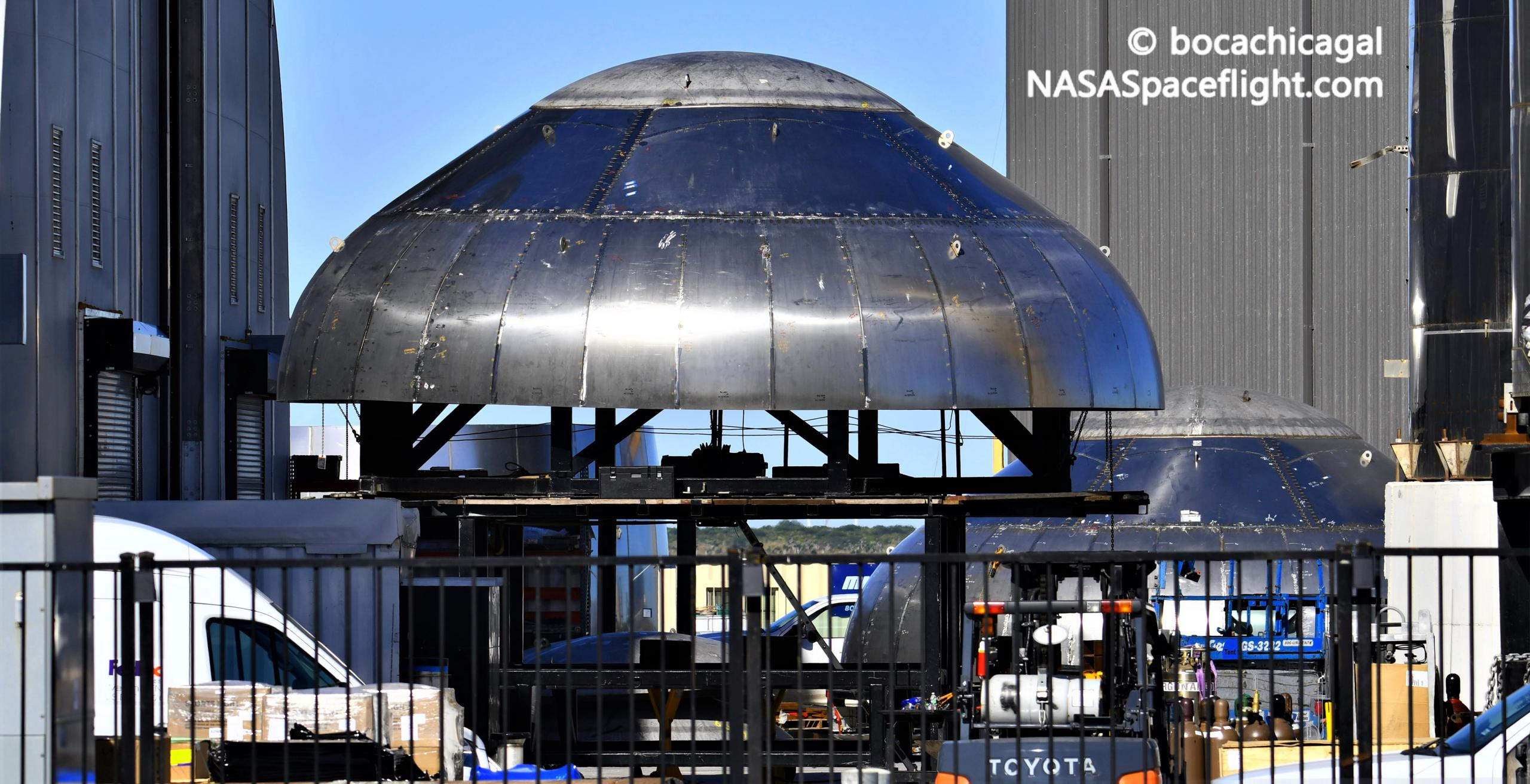 Starship Boca Chica 120720 (NASASpaceflight – bocachicagal) forward domes 1 crop (c)