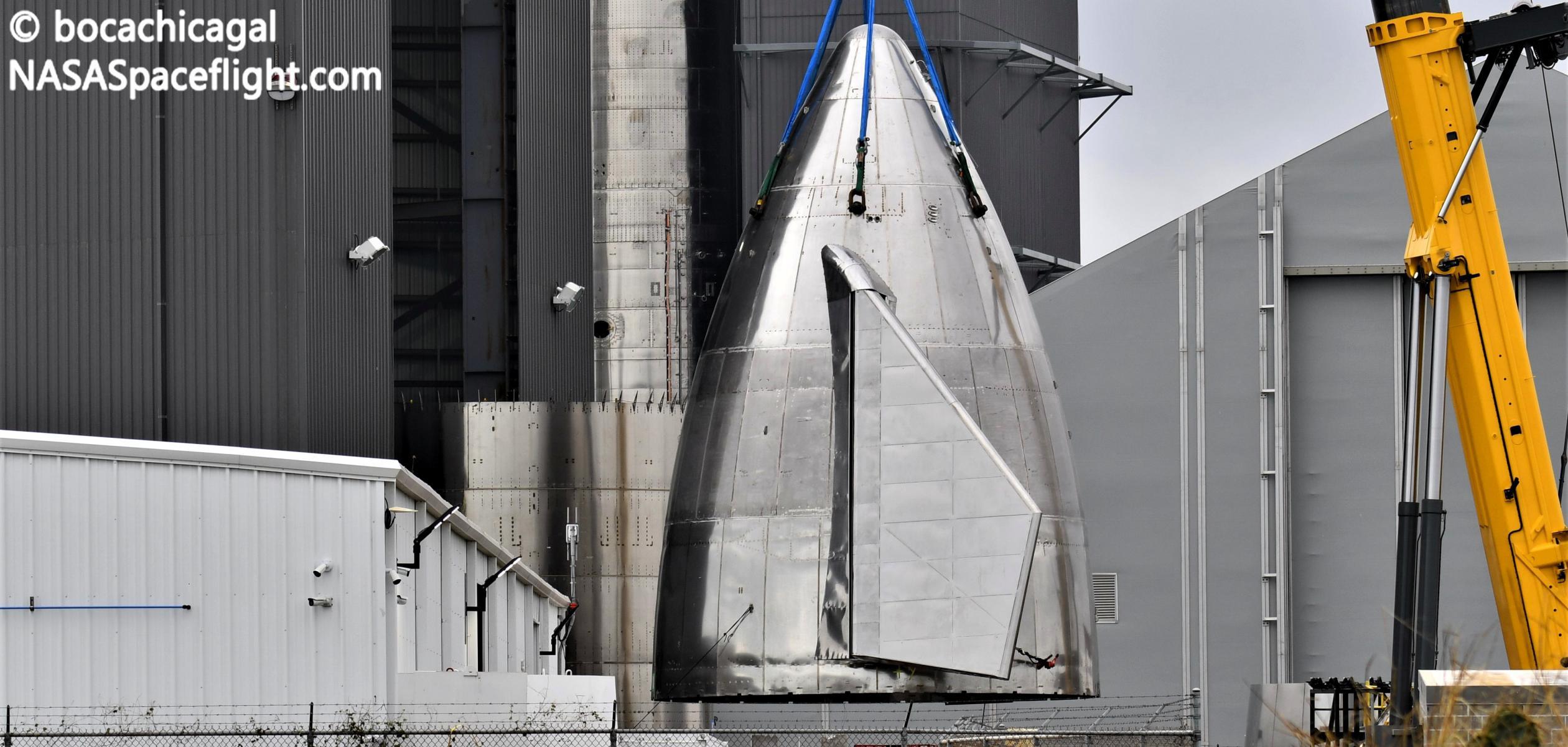 Starship Boca Chica 121920 (NASASpaceflight – bocachicagal) SN10 nose stack 1 crop (c)