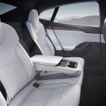 Tesla Model S interior rear seat touchscreen armrest